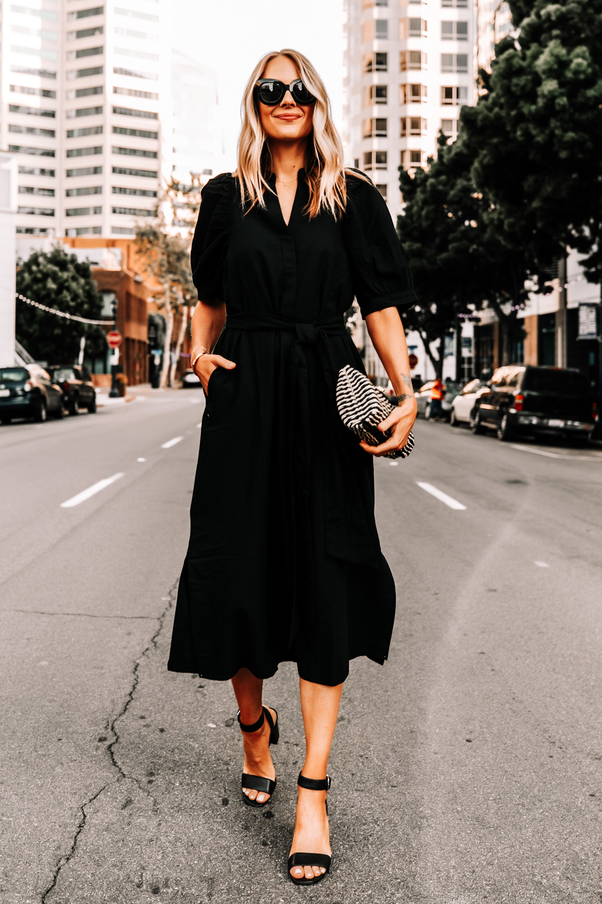 Fashion Jackson Wearing Ann Taylor Black Shirt Dress Black Heeled Sandals Black Tan Woven Clutch 1