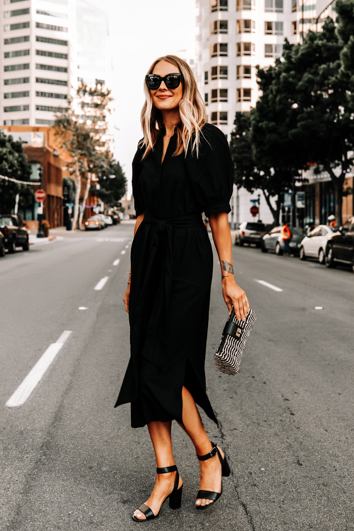 Fashion Jackson Wearing Ann Taylor Black Shirt Dress Black Heeled Sandals Black Tan Woven Clutch