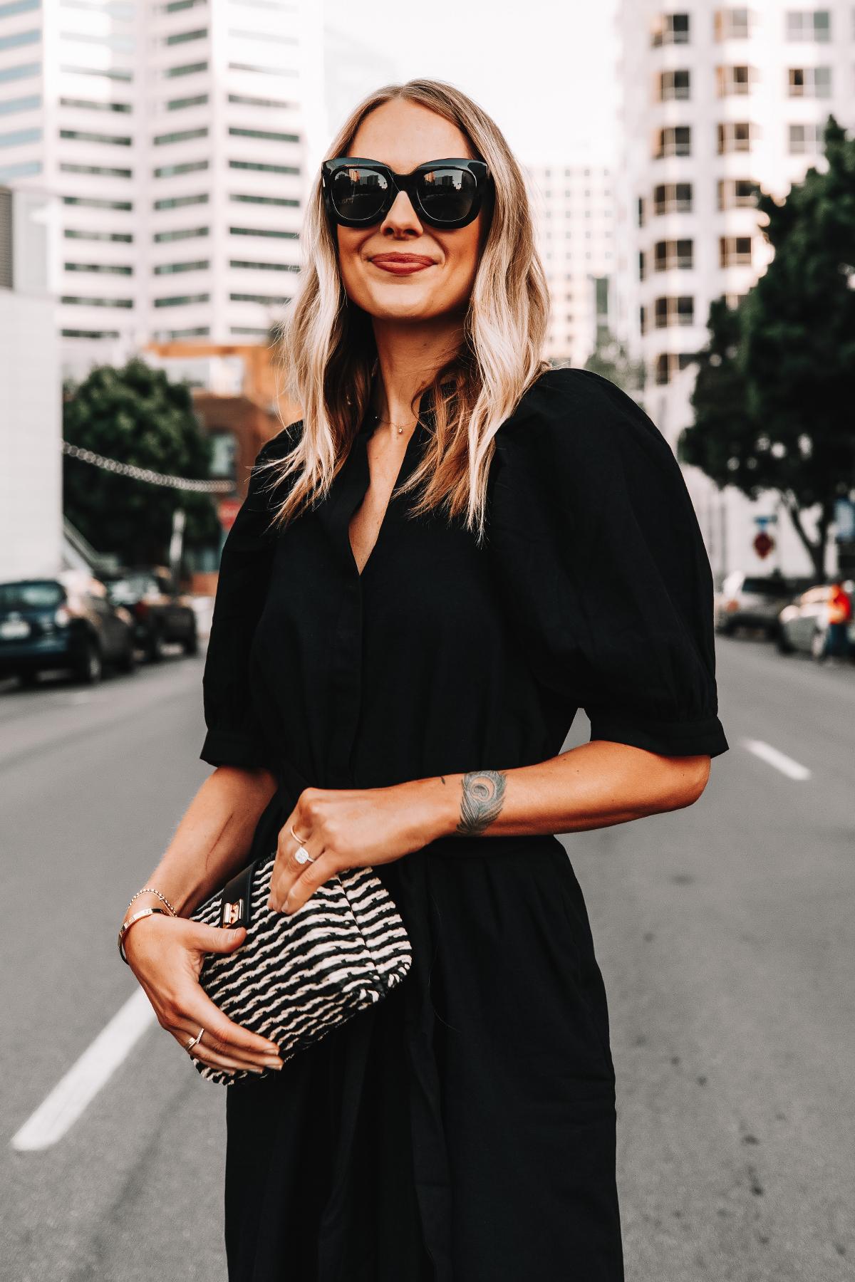 Fashion Jackson Wearing Ann Taylor Black Shirt Dress Black Tan Woven Clutch