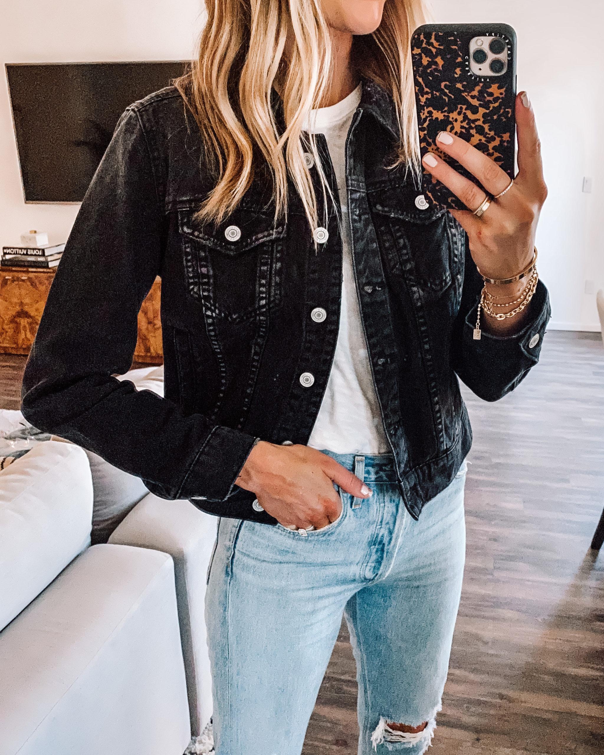 Fashion Jackson Wearing Black Denim Jacket White Tshirt Ripped Denim Jeans