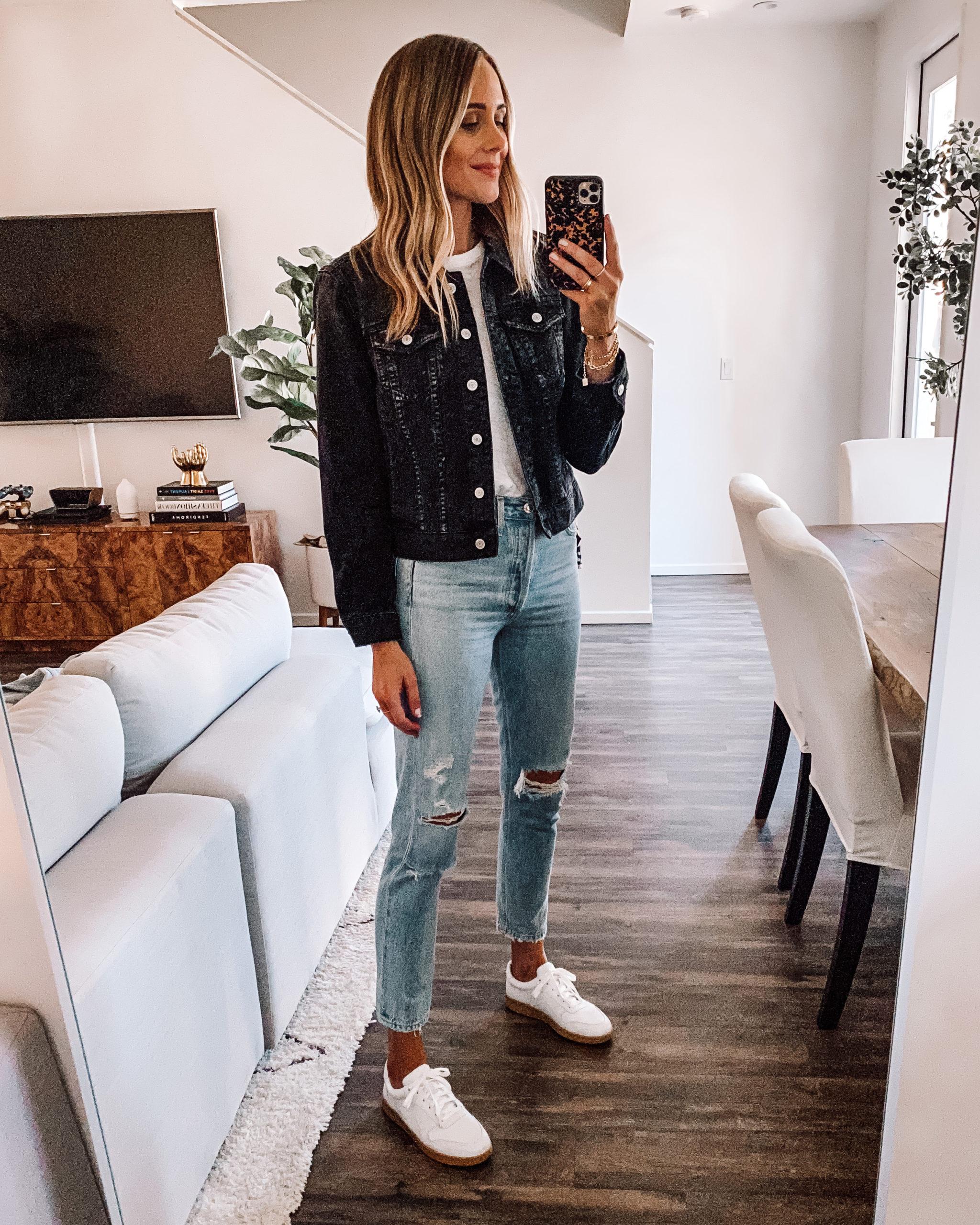 Fashion Jackson Wearing Black Jean Jacket White Tshirt Ripped Skinny Jeans Everlane White Sneakers