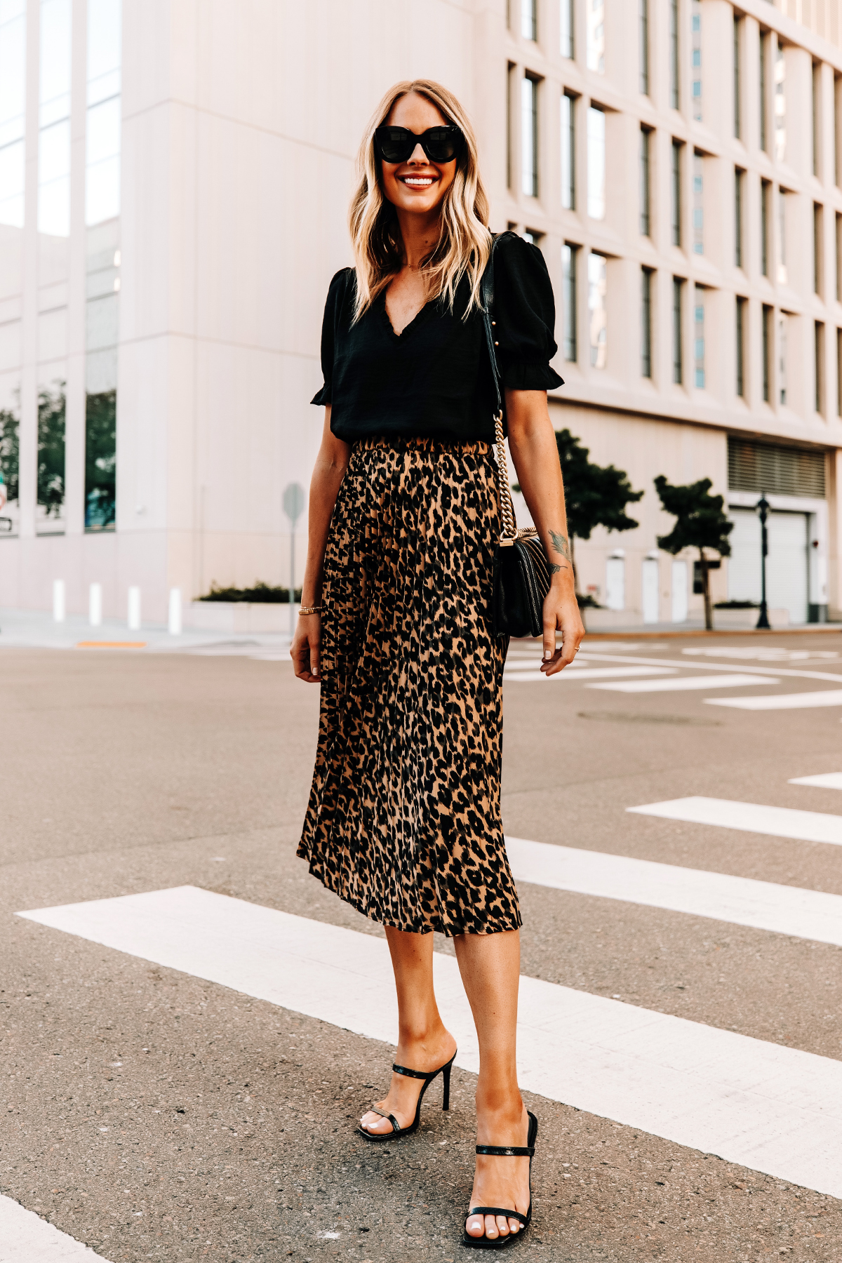 Fashion Jackson Wearing Black Top Leopard Midi Skirt Black Heeled Sandals 2