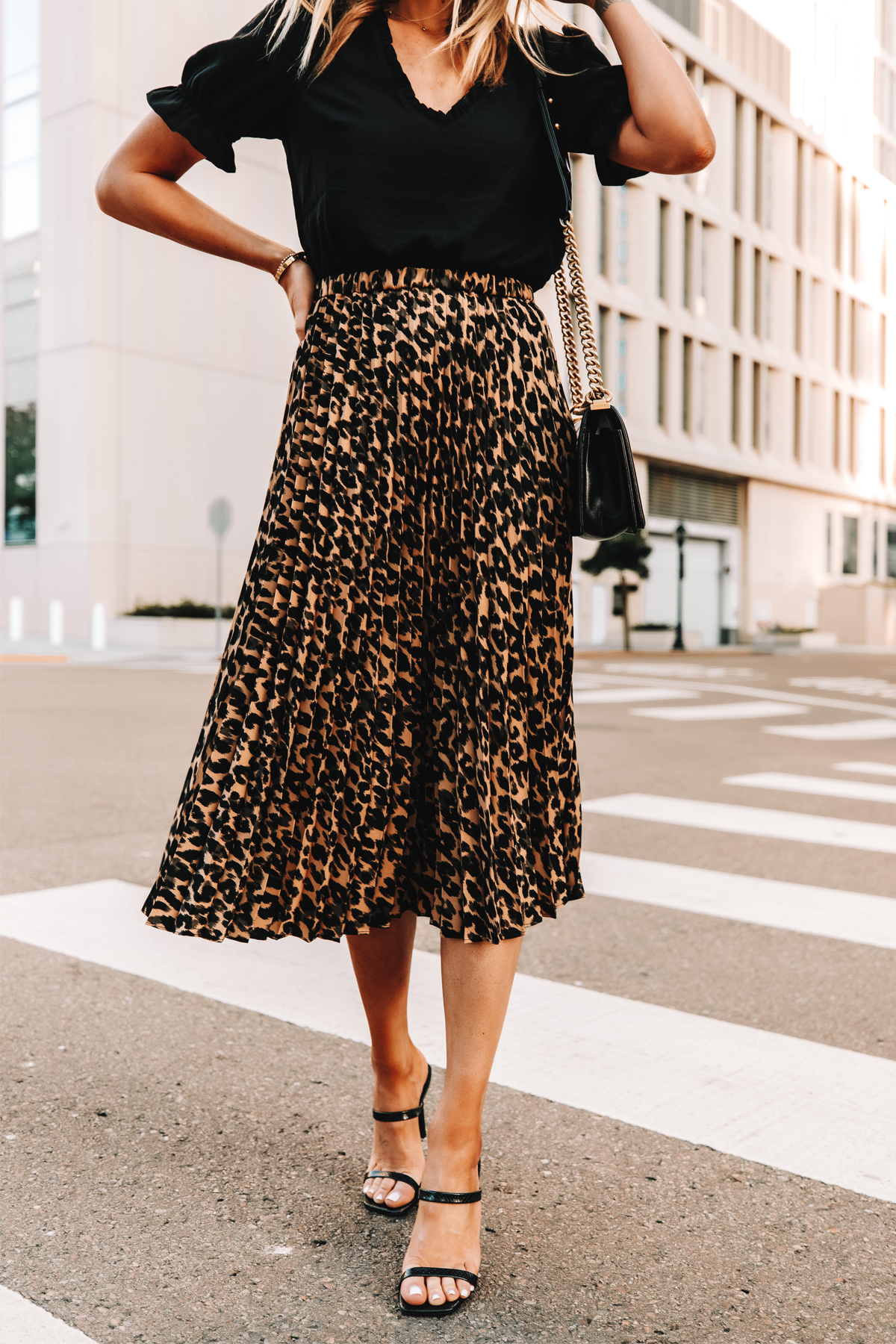 Fashion Jackson Wearing Black Top Leopard Midi Skirt Black Heeled Sandals