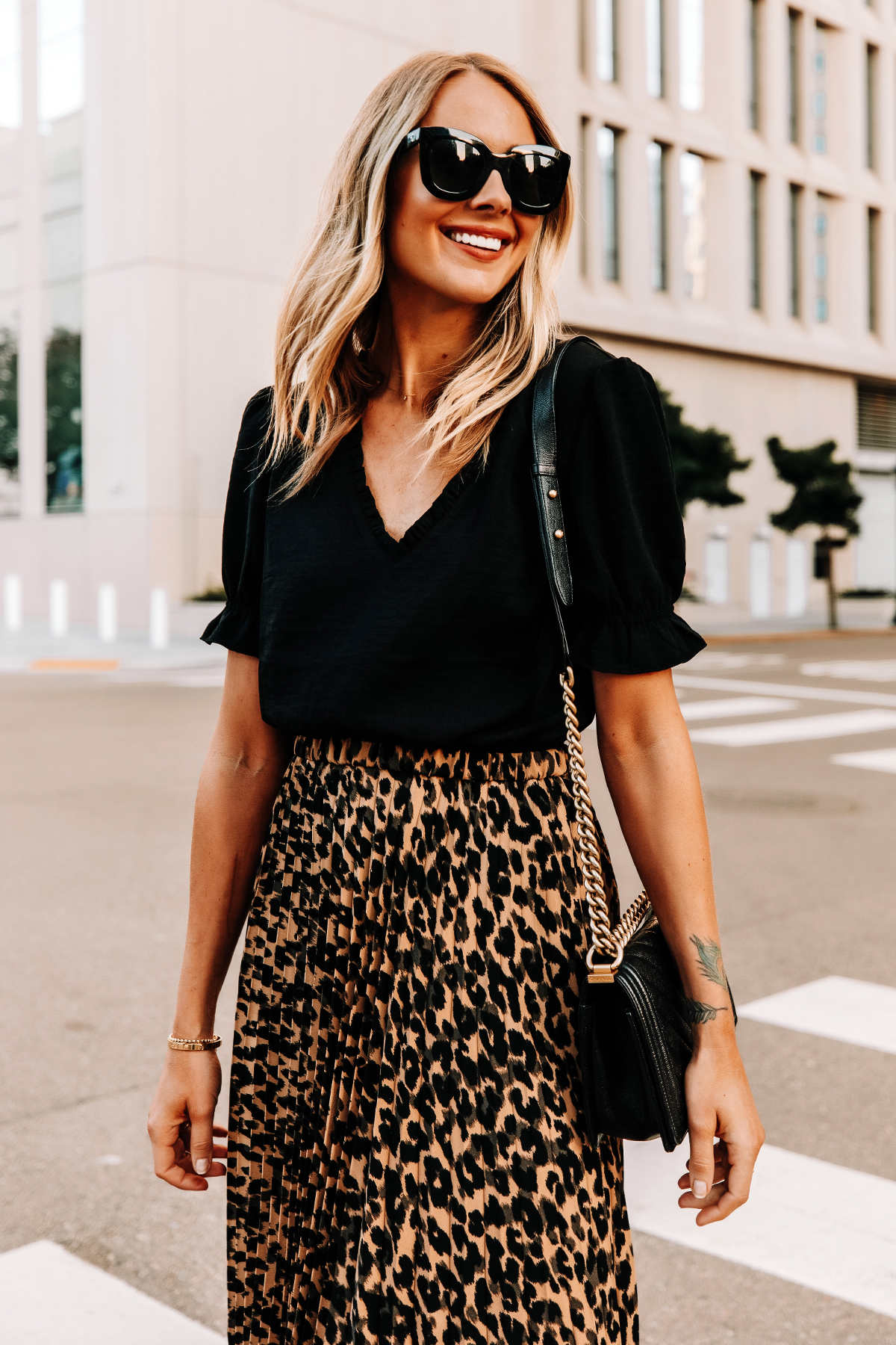 Fashion Jackson Wearing Black Top Leopard Midi Skirt Celine Black Sunglasses