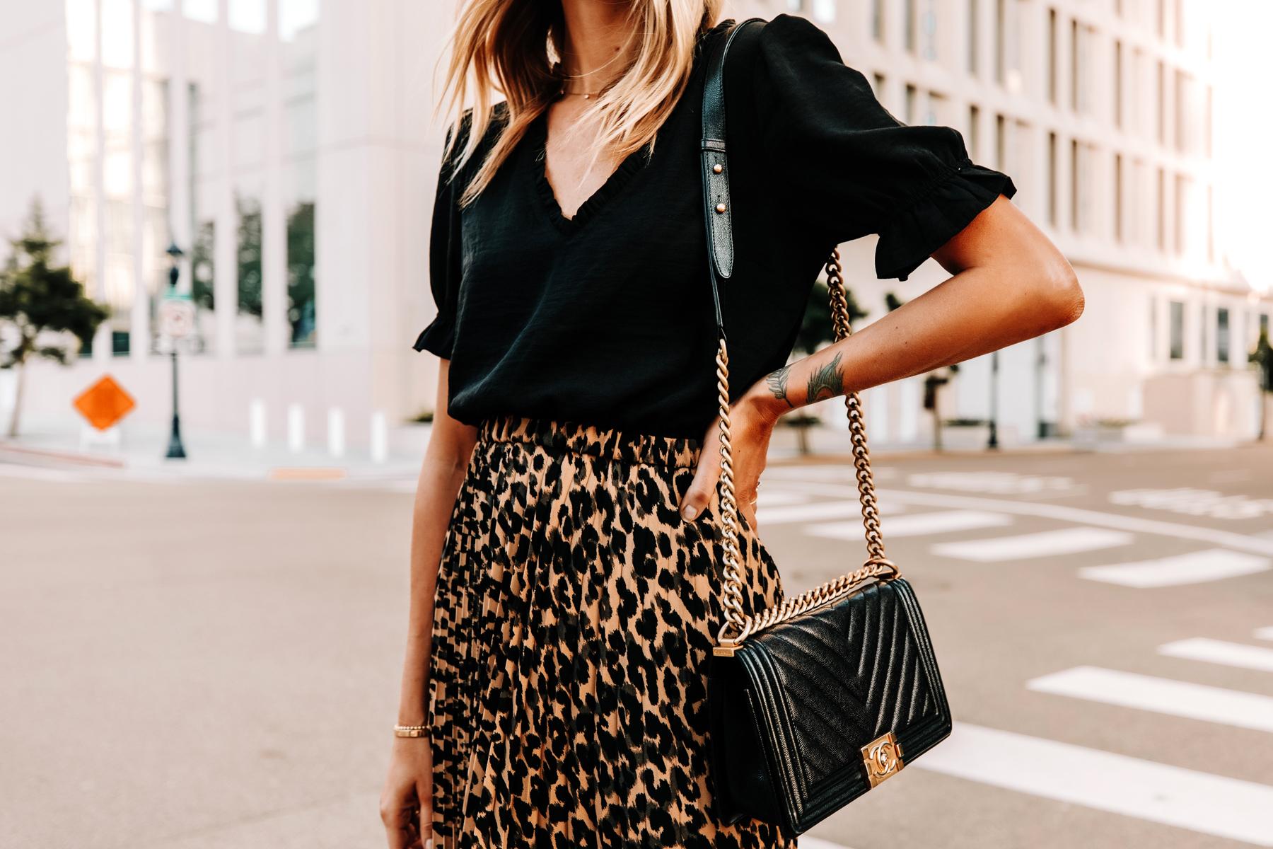 Fashion Jackson Wearing Black Top Leopard Midi Skirt