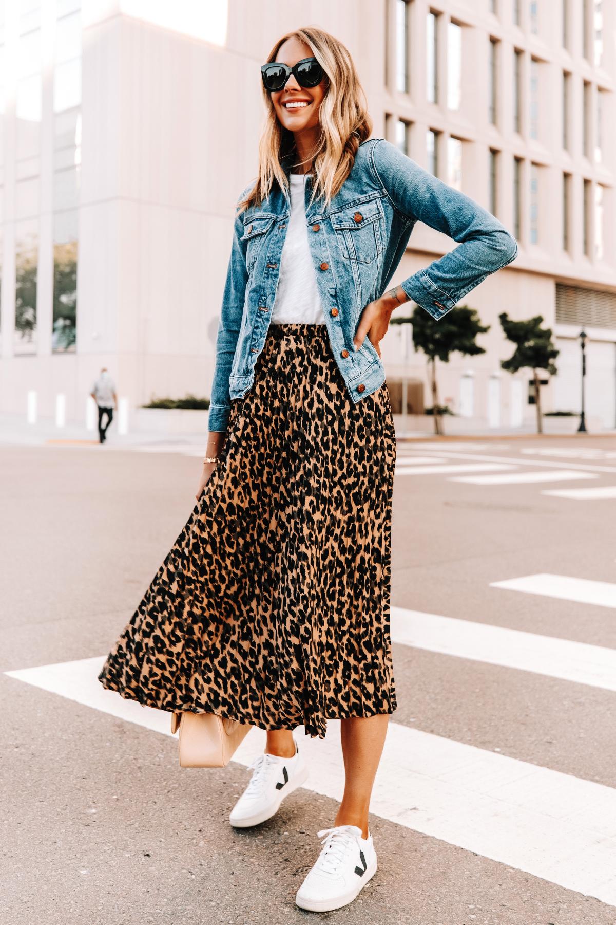 Fashion Jackson Wearing Denim Jacket White Tshirt Leopard Midi Skirt Veja Sneakers 1