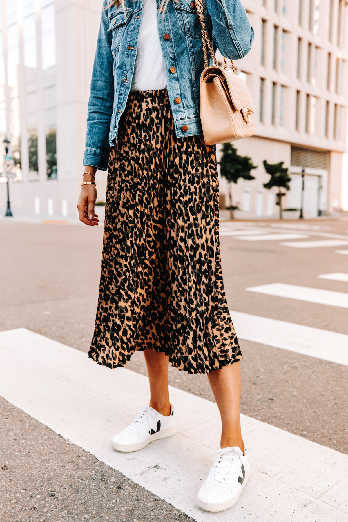 Fashion Jackson Wearing Denim Jacket White Tshirt Leopard Midi Skirt Veja Sneakers
