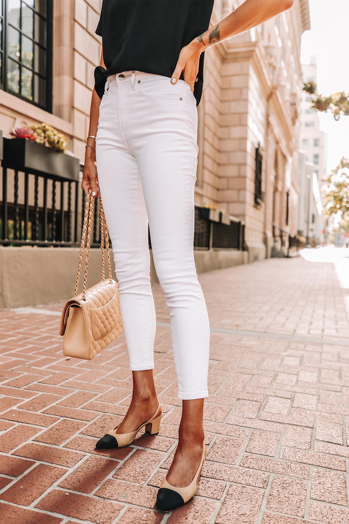 Fashion Jackson Wearing Everlane Black Top Everlane High Rise White Skinny Jeans Chanel Slingbacks Chanel Beige Handbag 1
