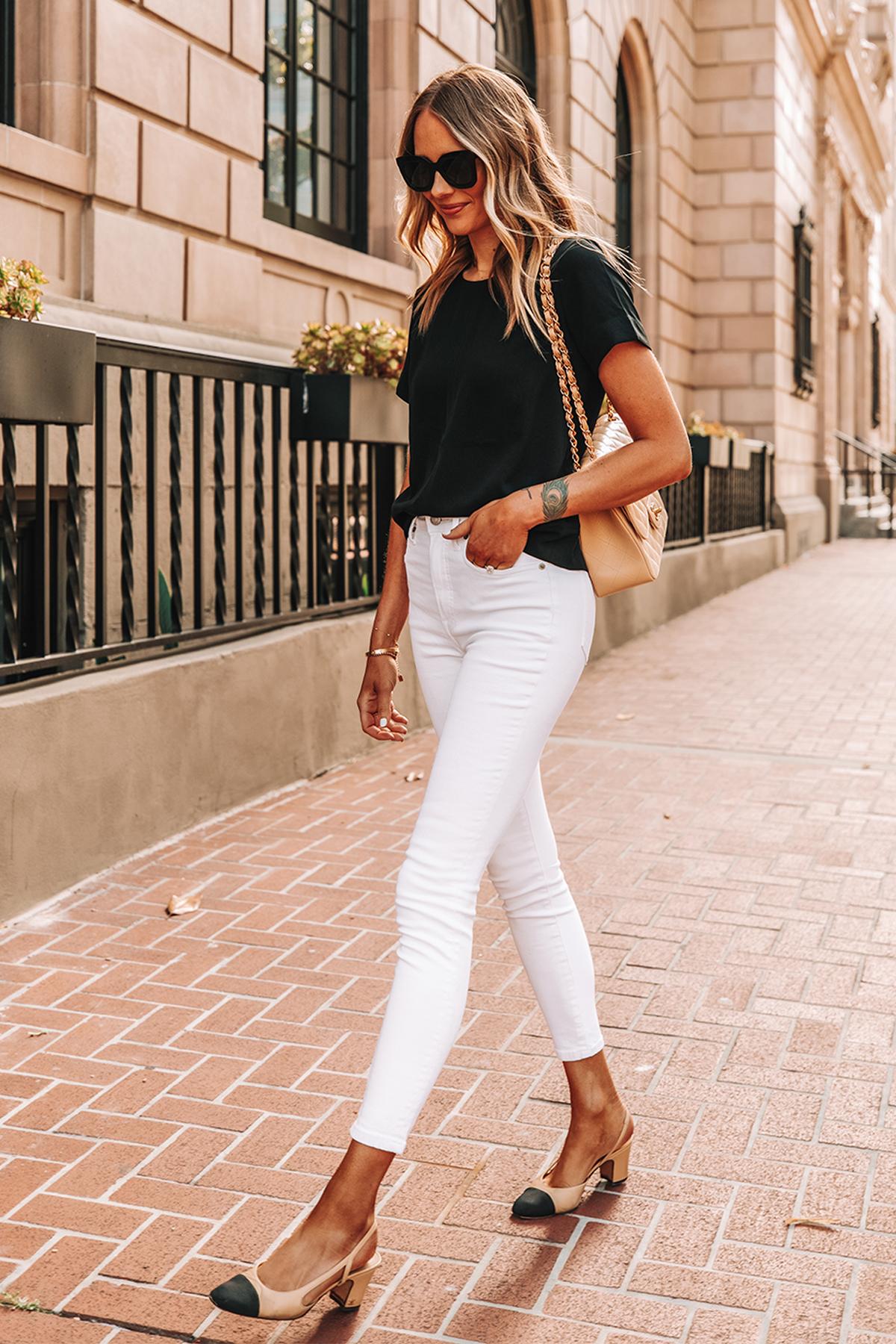 Fashion Jackson Wearing Everlane Black Top Everlane High Rise White Skinny Jeans Chanel Slingbacks Chanel Beige Handbag 2