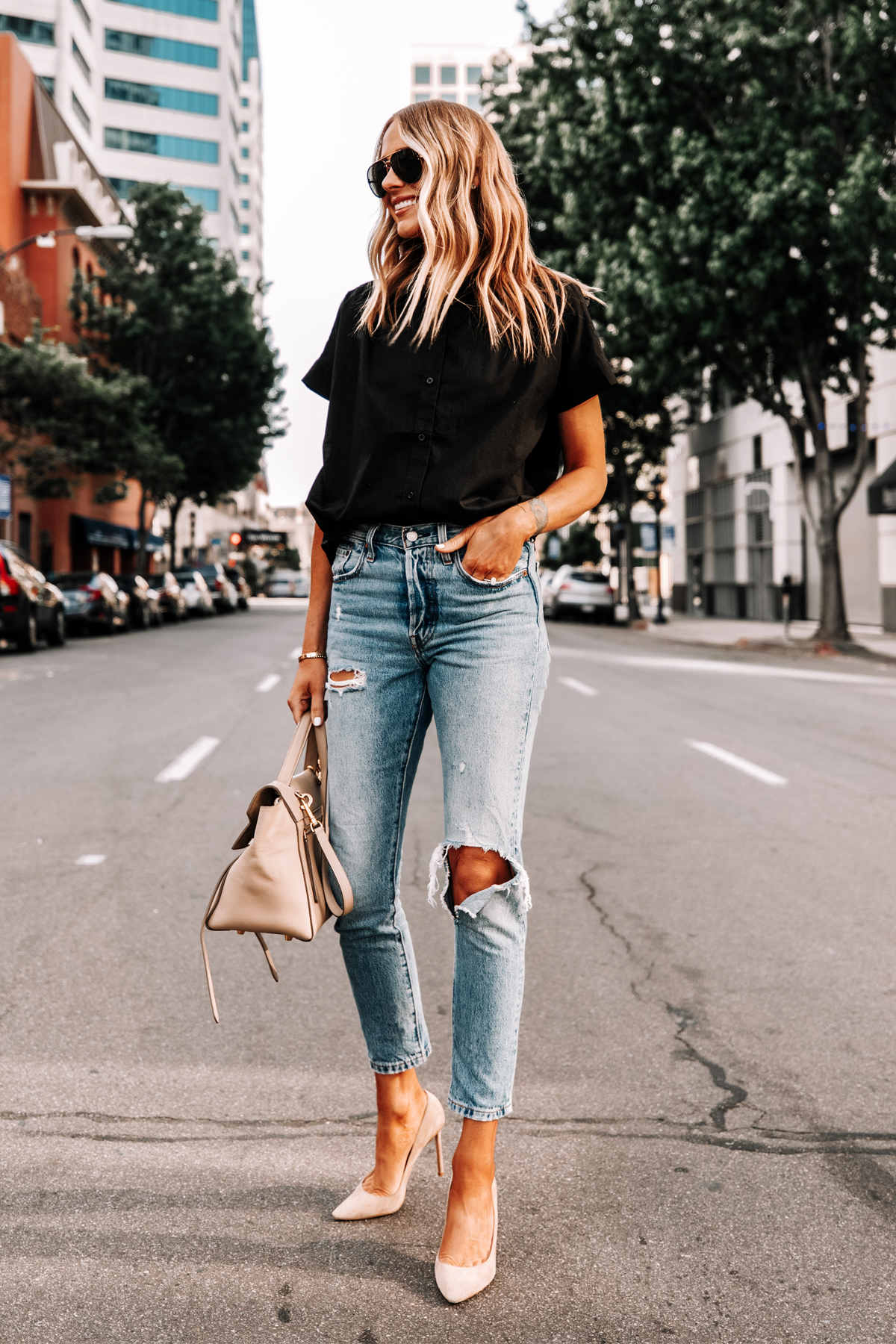 Fashion Jackson Wearing Everlane Black Short Sleeve Button Down Shirt Levis Ripped Jeans Jimmy Choo Romy Nude Pumps 3