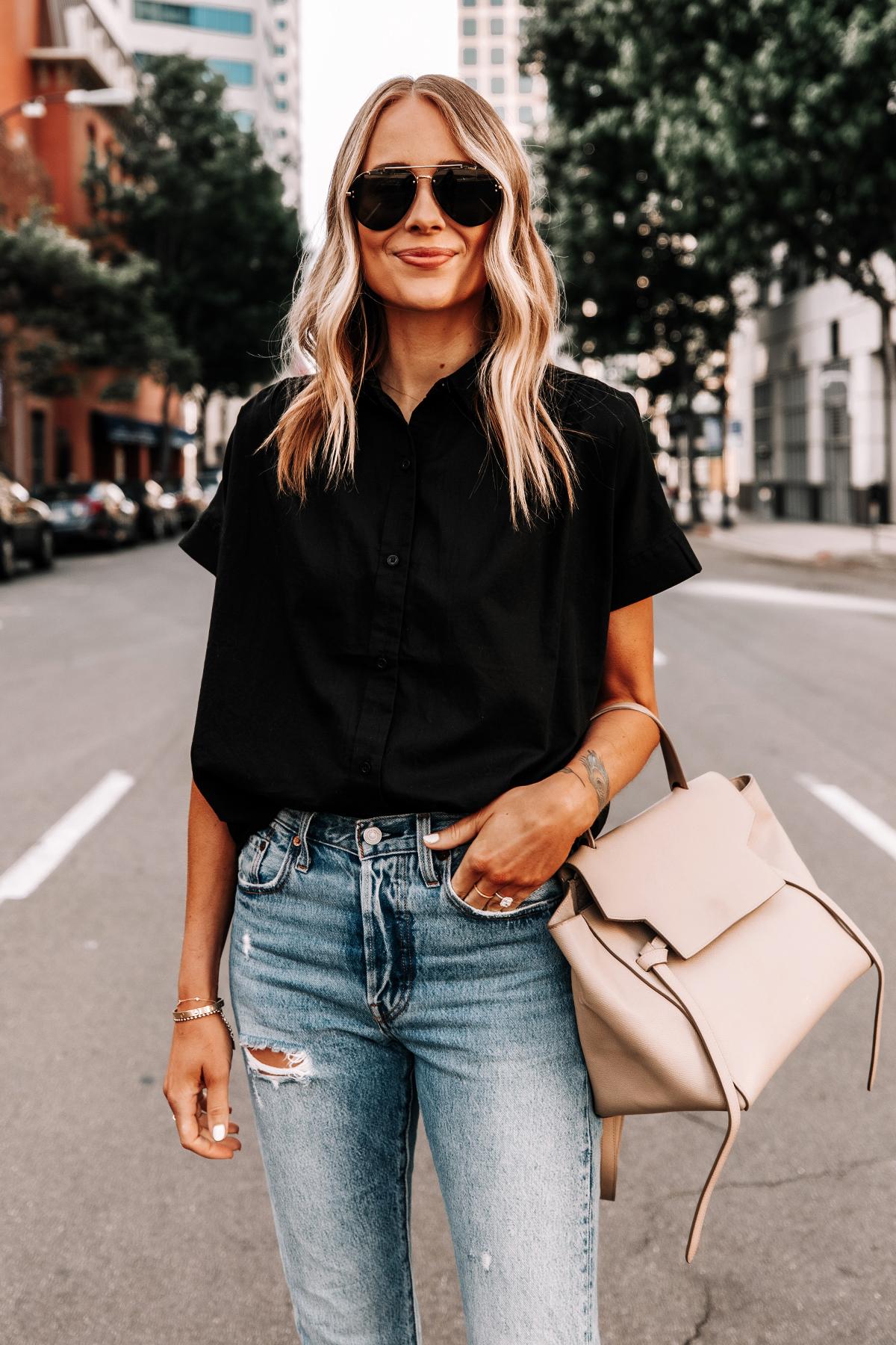 Fashion Jackson Wearing Everlane Black Short Sleeve Button Down Shirt Ripped Jeans Celine Mini Belt Bag 1