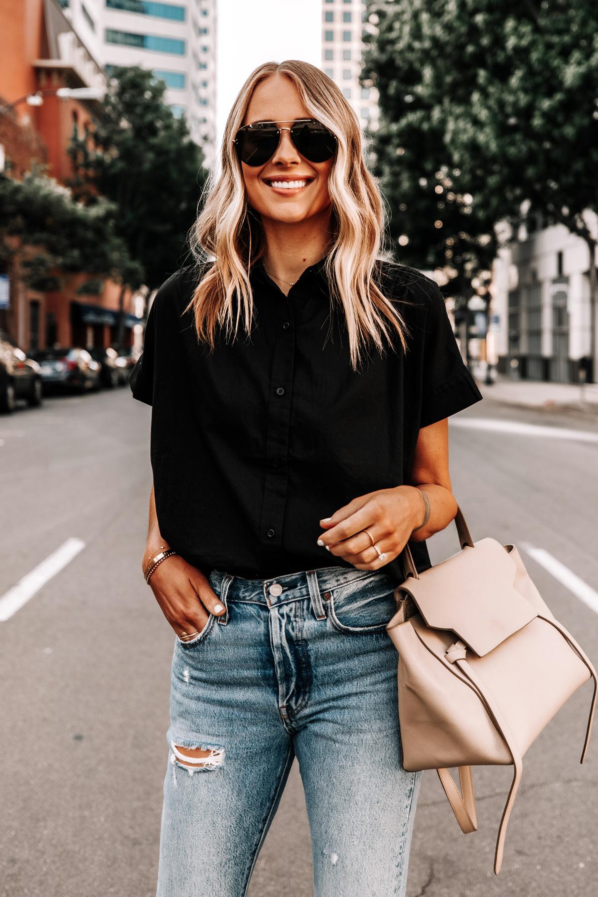 Fashion Jackson Wearing Everlane Black Short Sleeve Button Down Shirt Ripped Jeans Celine Mini Belt Bag Aviator Sunglasses
