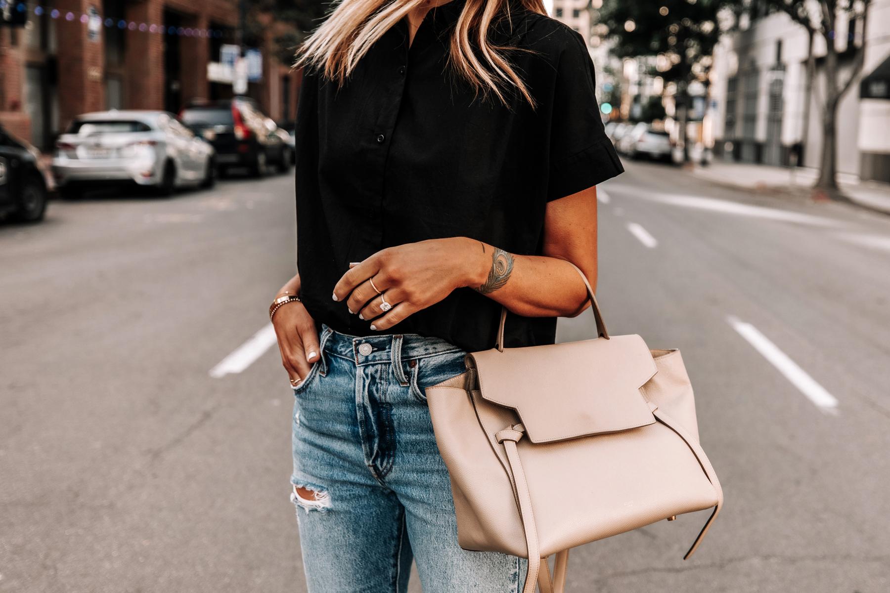 Fashion Jackson Wearing Everlane Black Short Sleeve Button Down Shirt Ripped Jeans Celine Mini Belt Bag