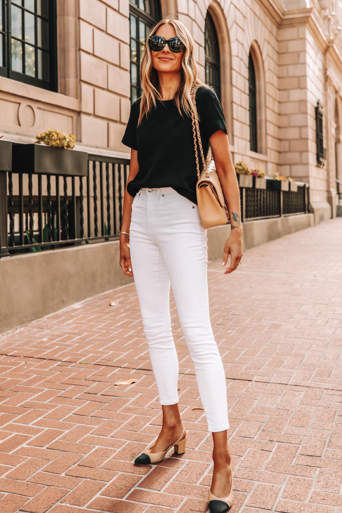 Fashion Jackson Wearing Everlane Black Short Sleeve Top Everlane White High Rise Skinny Jeans Chanel Slingbacks Chanel Beige Handbag 1