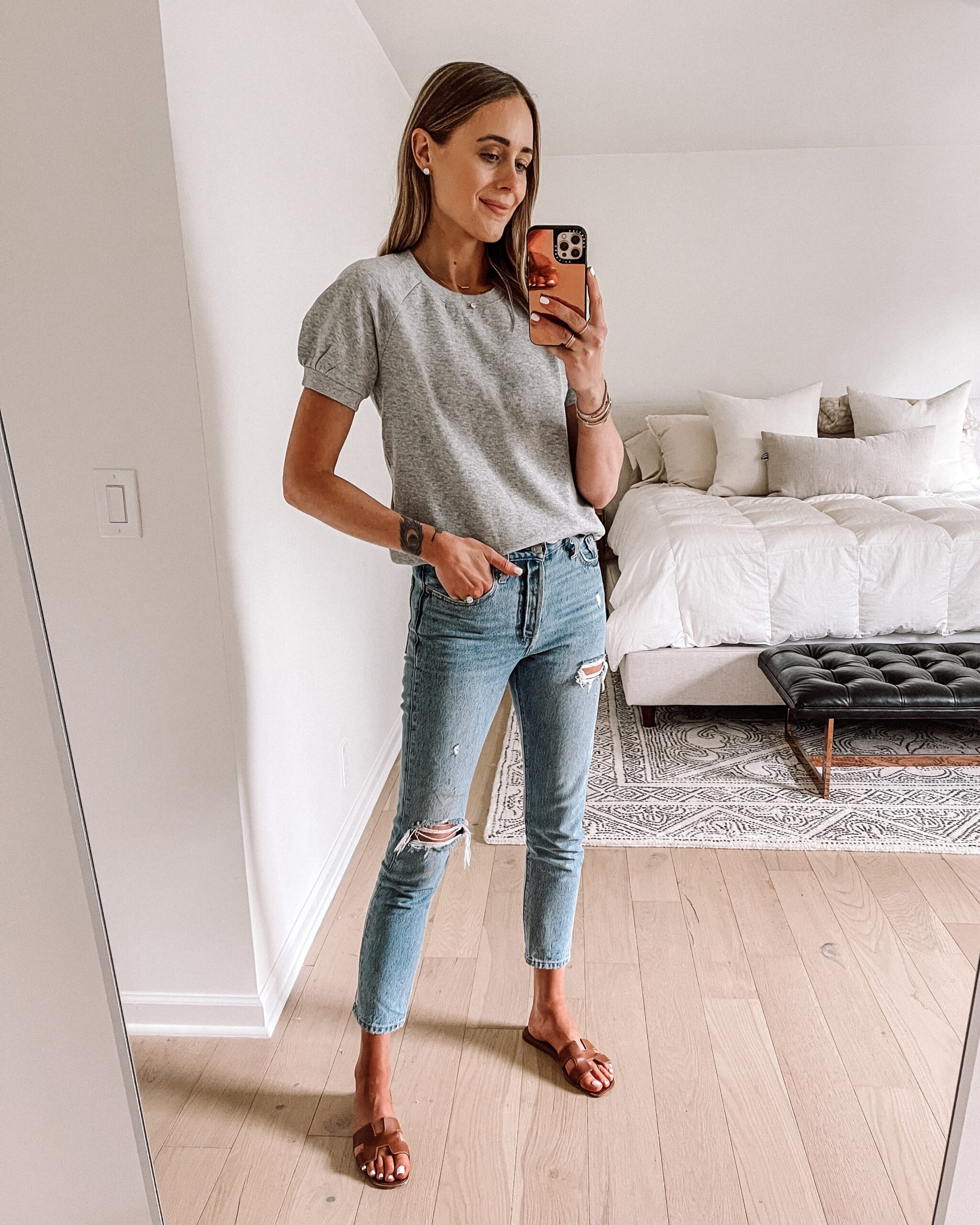 Fashion Jackson Wearing Grey Puff Short Sleeve Sweatshirt Ripped Jeans Tan Sandals