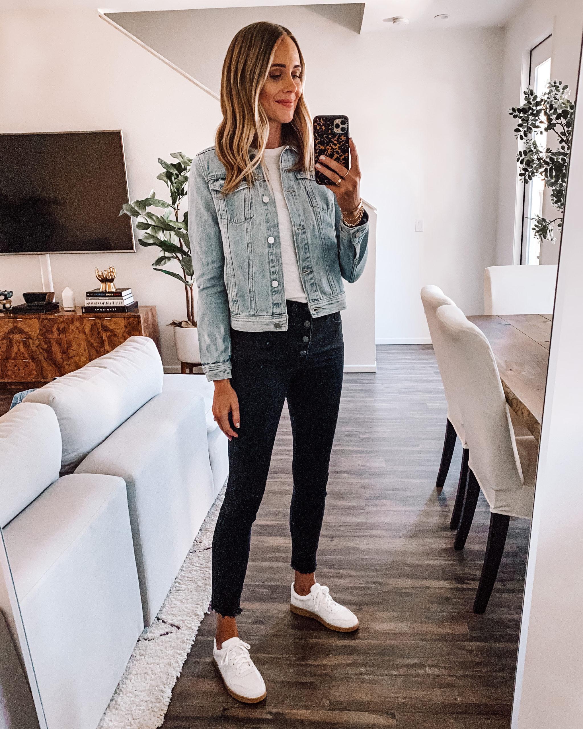Fashion Jackson Wearing Joes Jeans Light Wash Denim Jacket White Tshirt Black Skinny Jeans Everlane White Sneakers