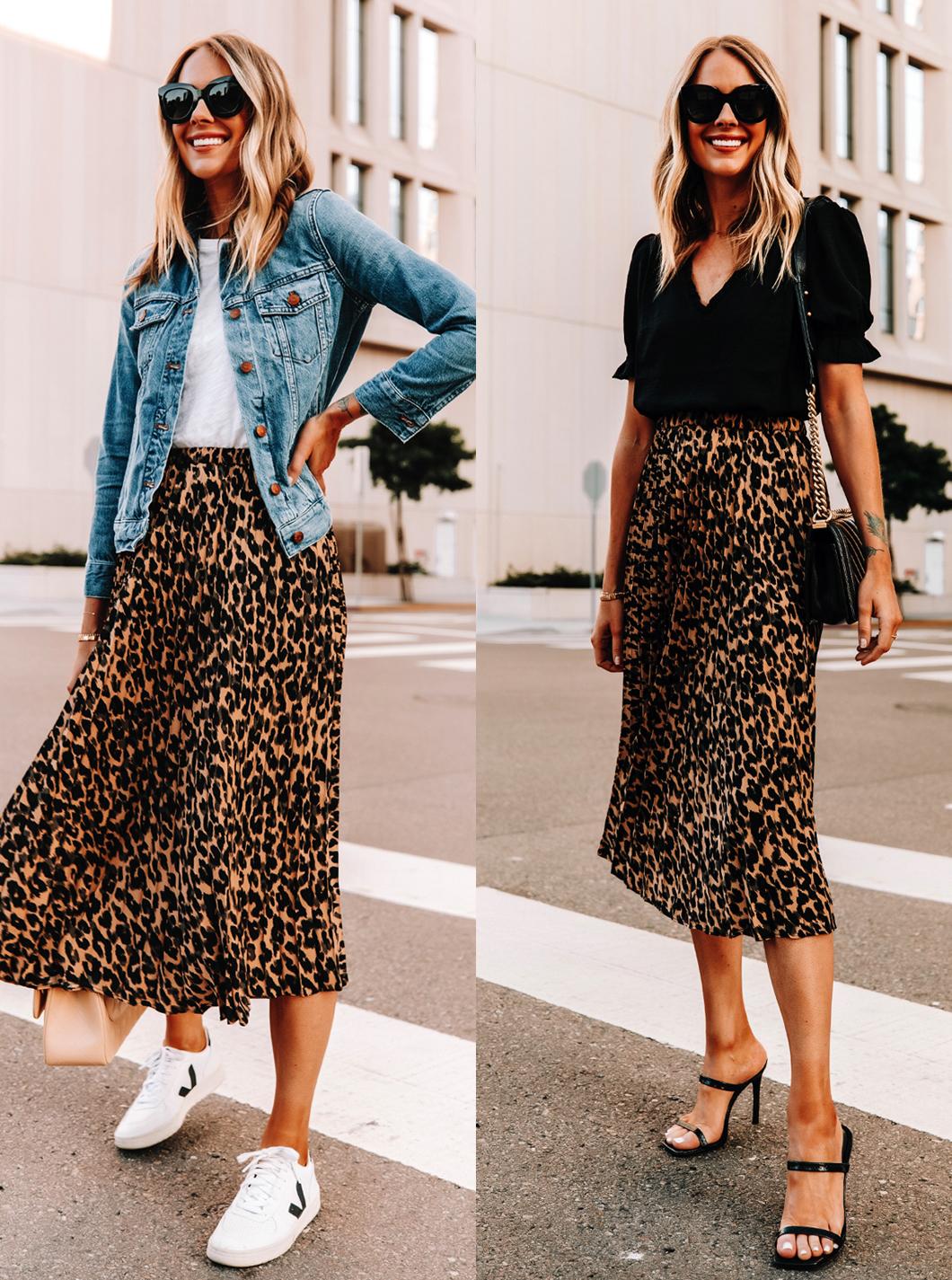 Fashion Jackson Wearing Leopard Midi Skirt