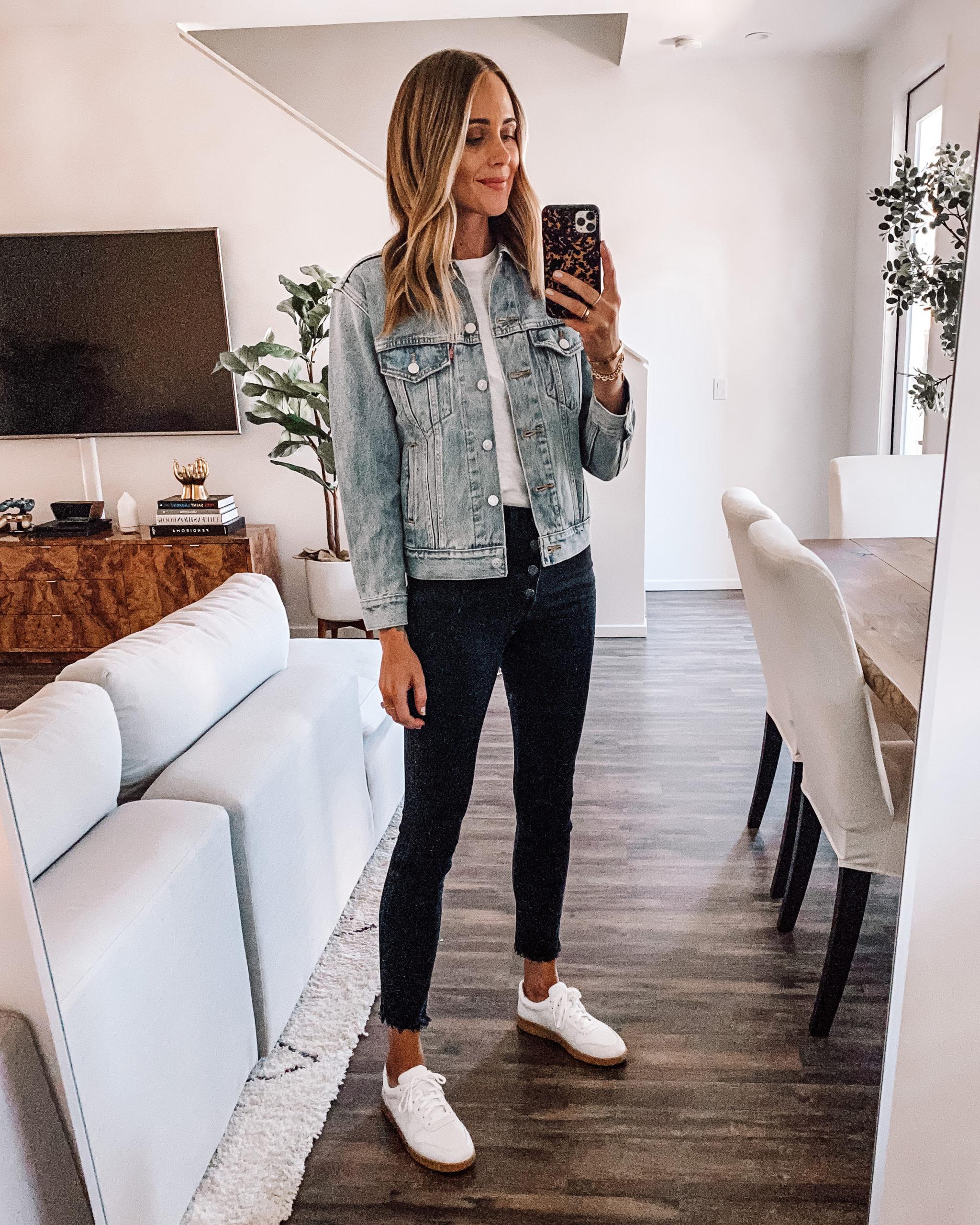 Fashion Jackson Wearing Levis Light Wash Denim Jacket White Tshirt Black Skinny Jeans Everlane White Sneakers 1