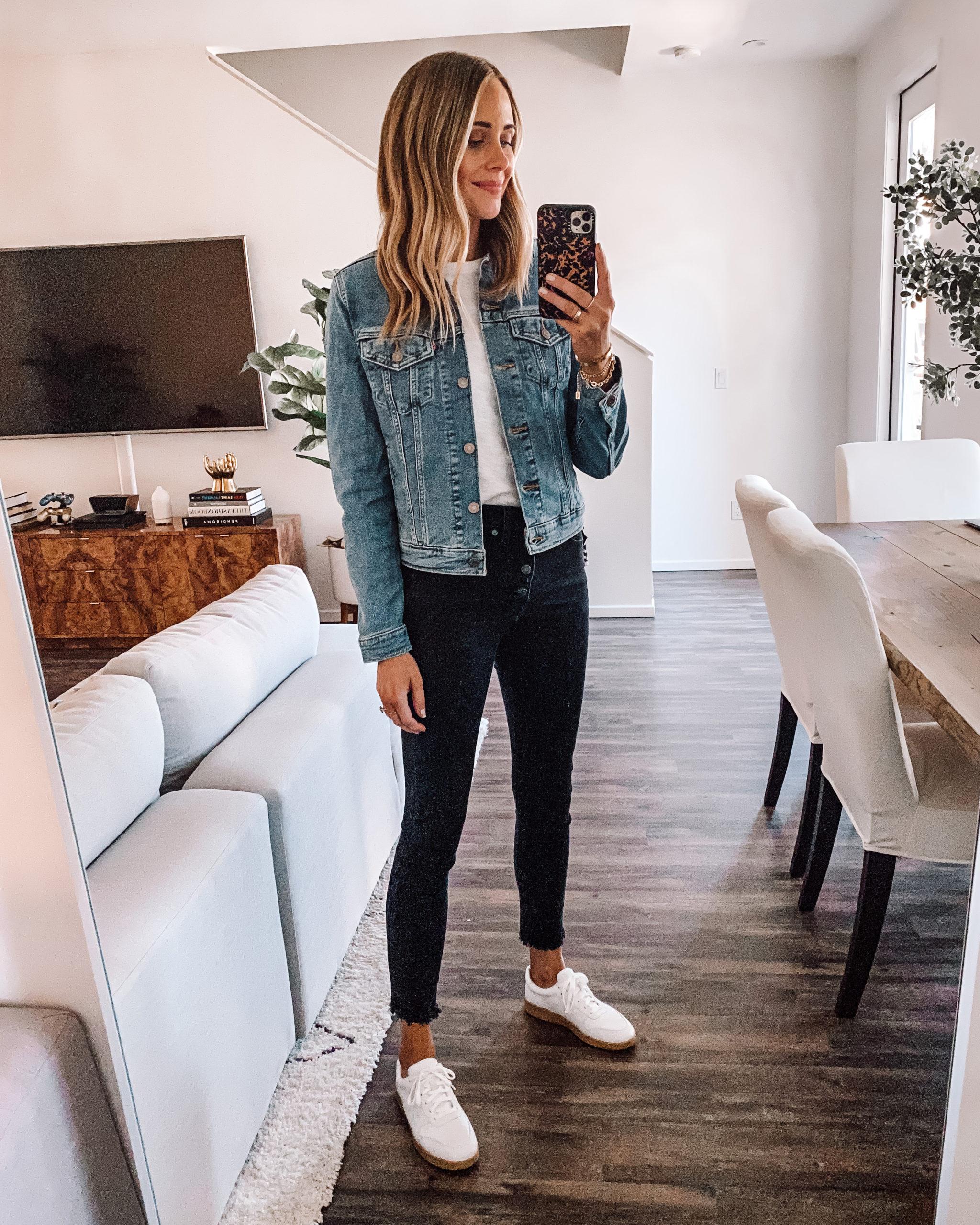 Fashion Jackson Wearing Levis Original Trucker Jacket White Tshirt Black Skinny Jeans Everlane White Sneakers