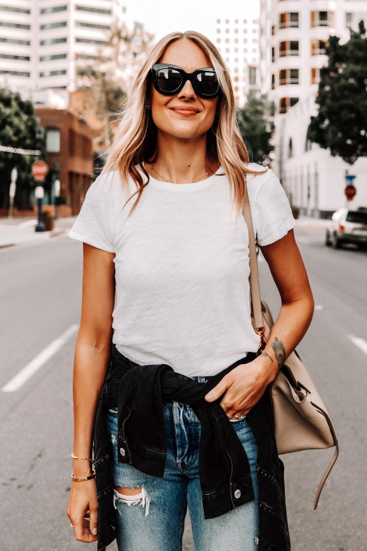 Fashion Jackson Wearing White ATM T-Shirt Black Jean Jacket Ripped Levis Jeans
