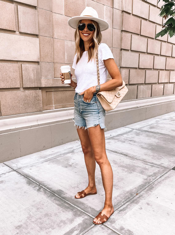 Fashion Jackson Wearing White Tshirt High Rise Denim Shorts Hermes Sandals White Hat Chanel Beige Handbag