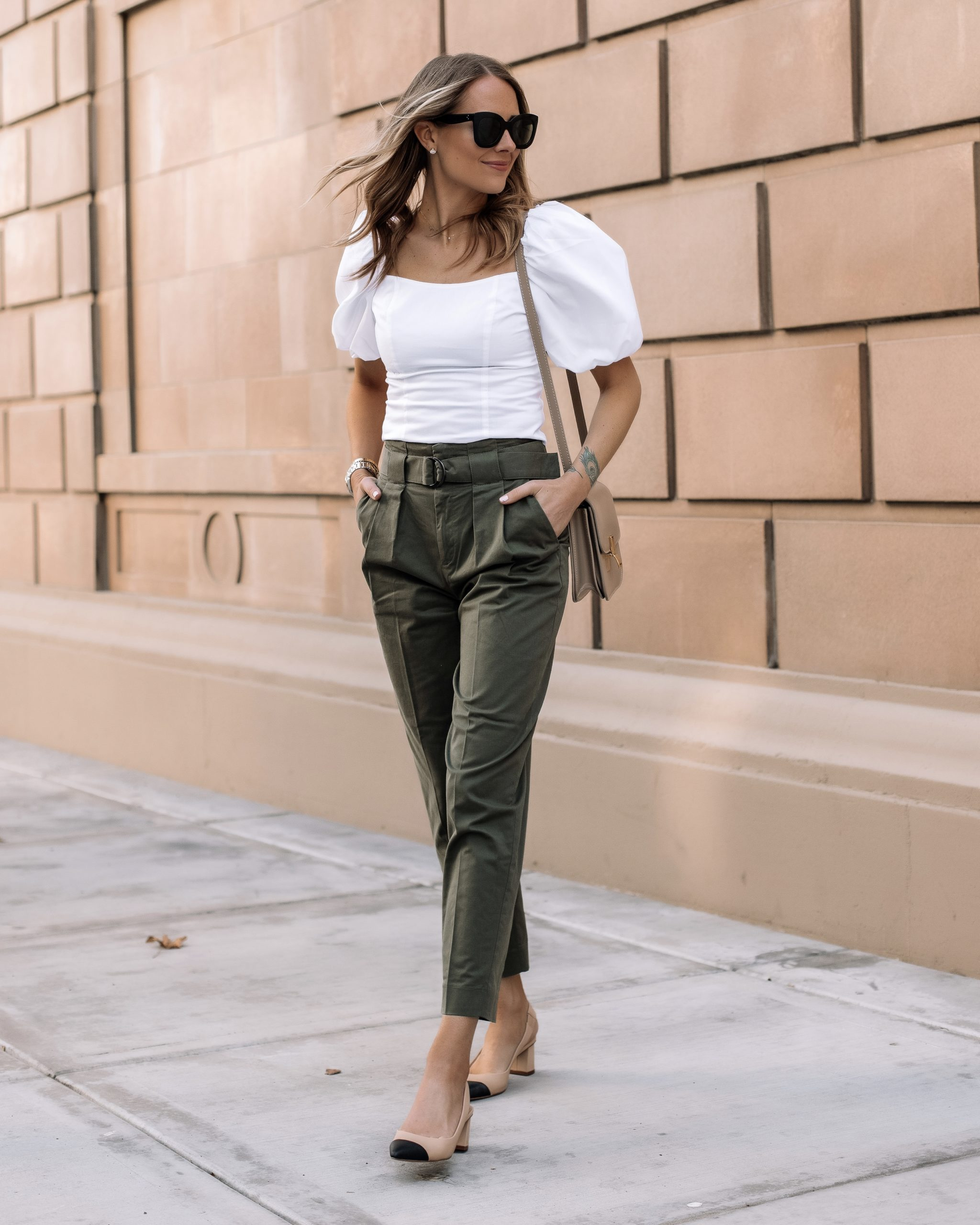 Fashion Jackson Wearing Banana Republic White Puff Sleeve Top Banana Republic Olive Green Trousers Beige Slingbacks Workwear Outfit