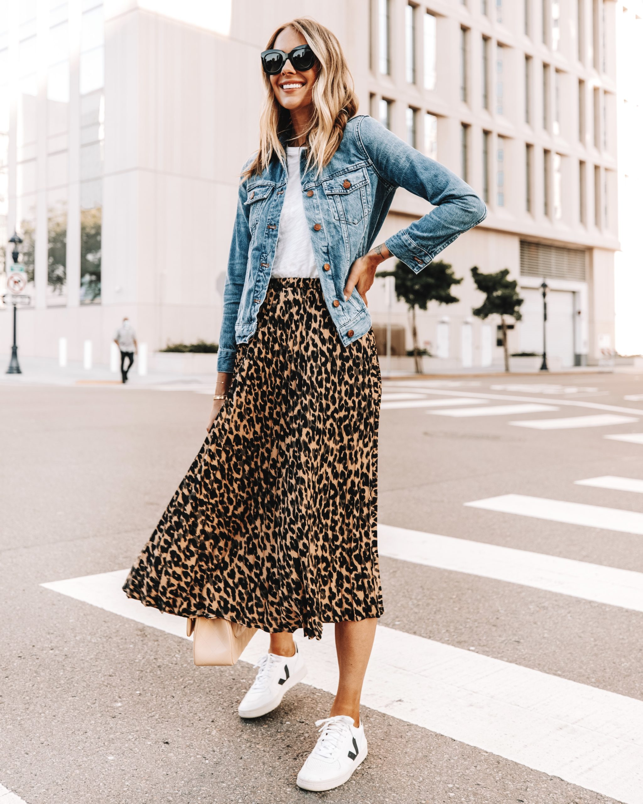 Fashion Jackson Wearing Denim Jacket White Tshirt Leopard Midi Skirt Veja Sneakers 1