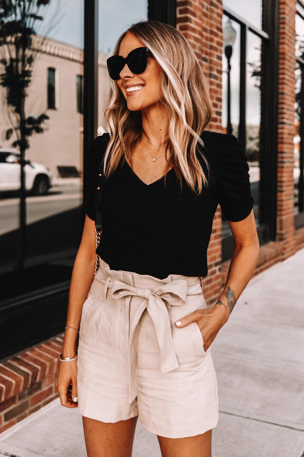 Fashion Jackson Wearing Express Black Vneck T-Shirt Tan Paperbag Waist Shorts Summer Outfit