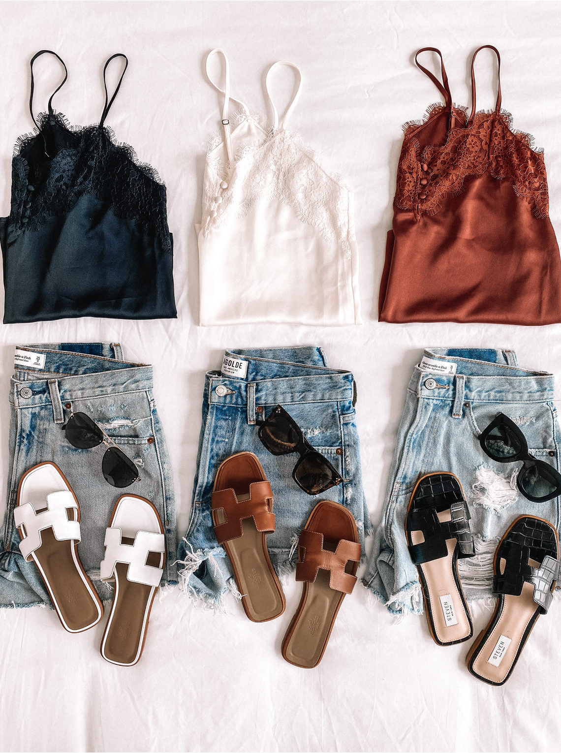 Fashion Jackson Abercombie Lace Camis Denim Shorts Sandals Jean Shorts Summer Outfit
