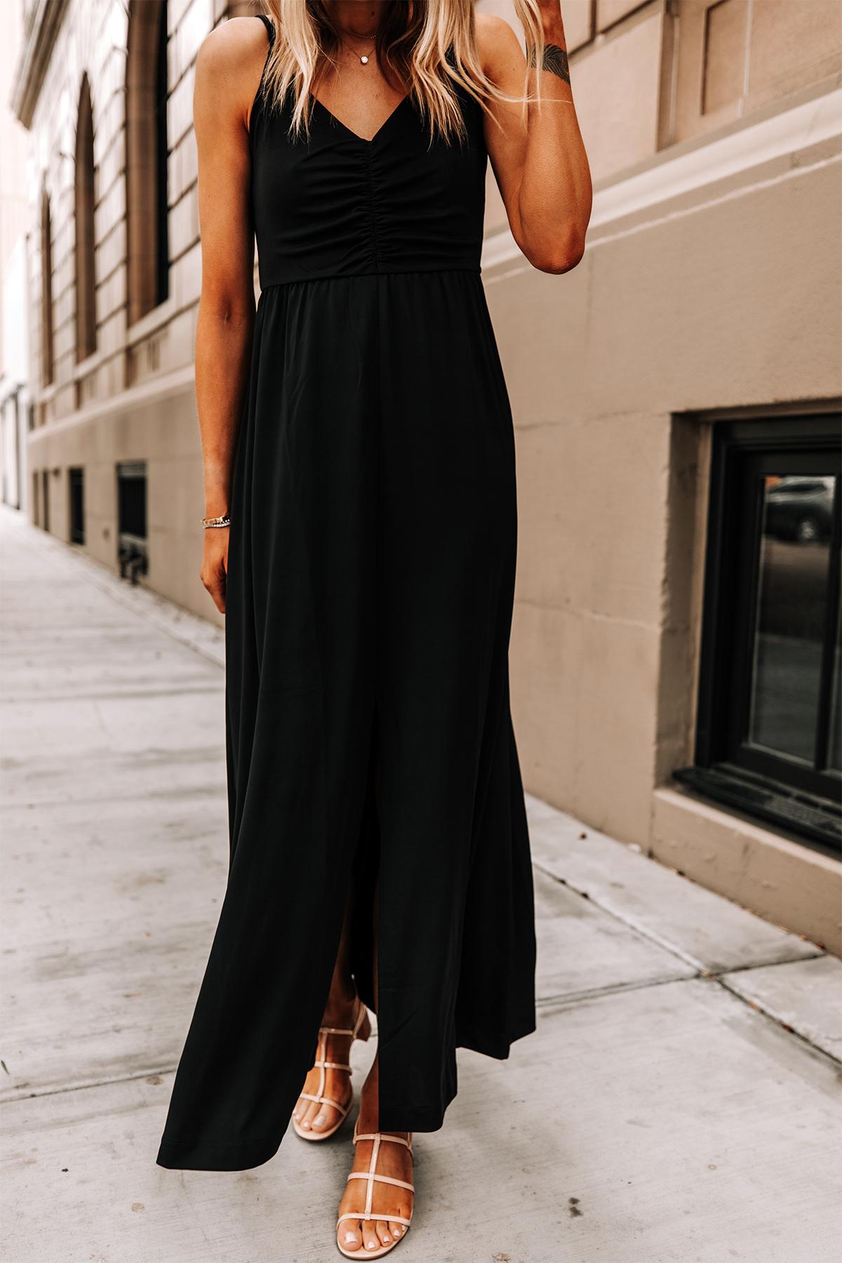 Fashion Jackson Wearing Banana Republic Black Maxi Dress Tan Sandals 2