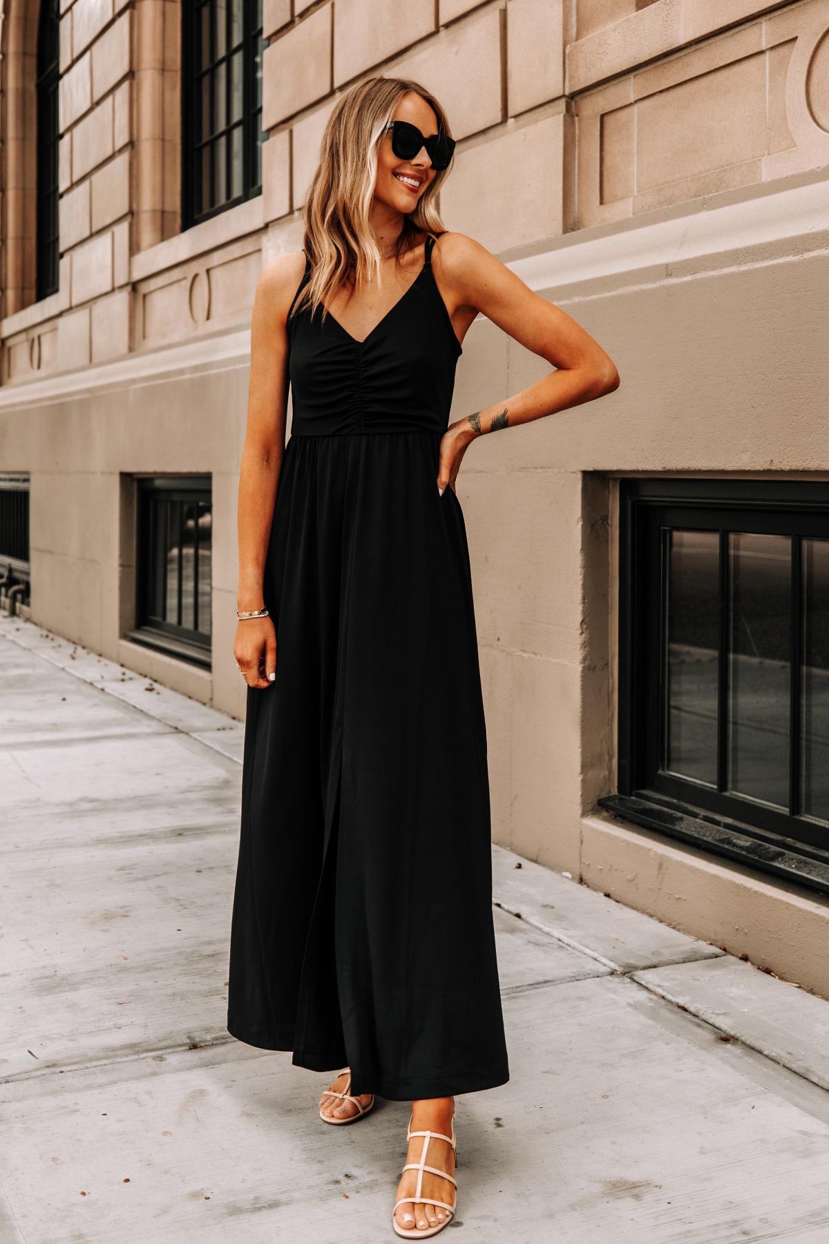 Fashion Jackson Wearing Banana Republic Black Maxi Dress Tan Sandals