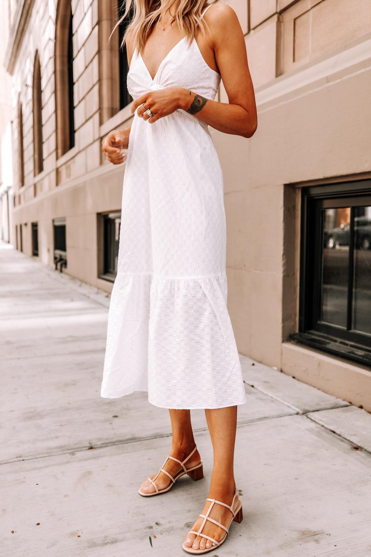 Fashion Jackson Wearing Banana Republic White Midi Dress Tan Sandals 1