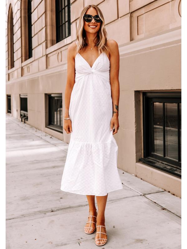 Fashion Jackson Wearing Banana Republic White Midi Dress Tan Sandals 2