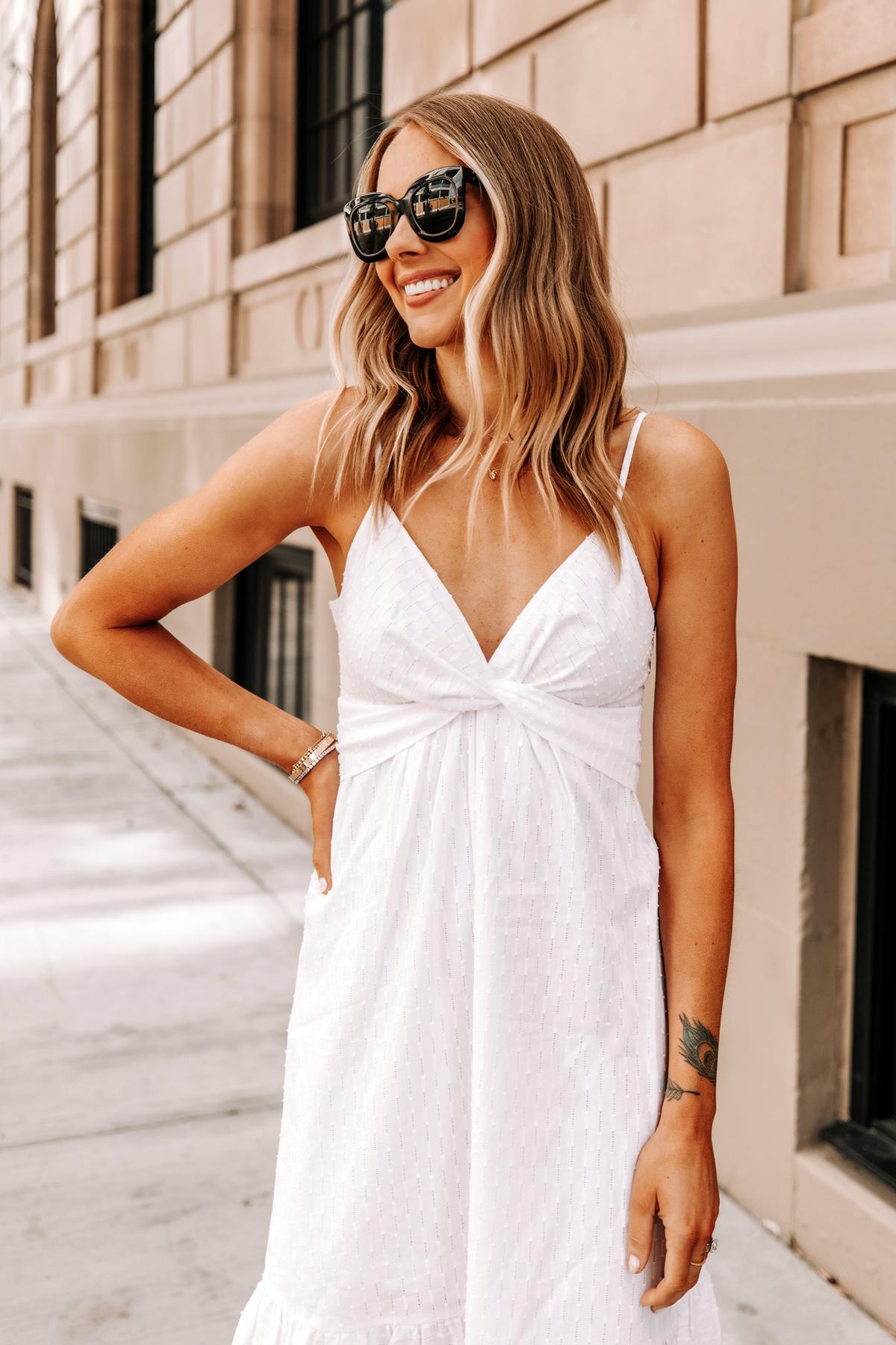 Fashion Jackson Wearing Banana Republic White Midi Dress