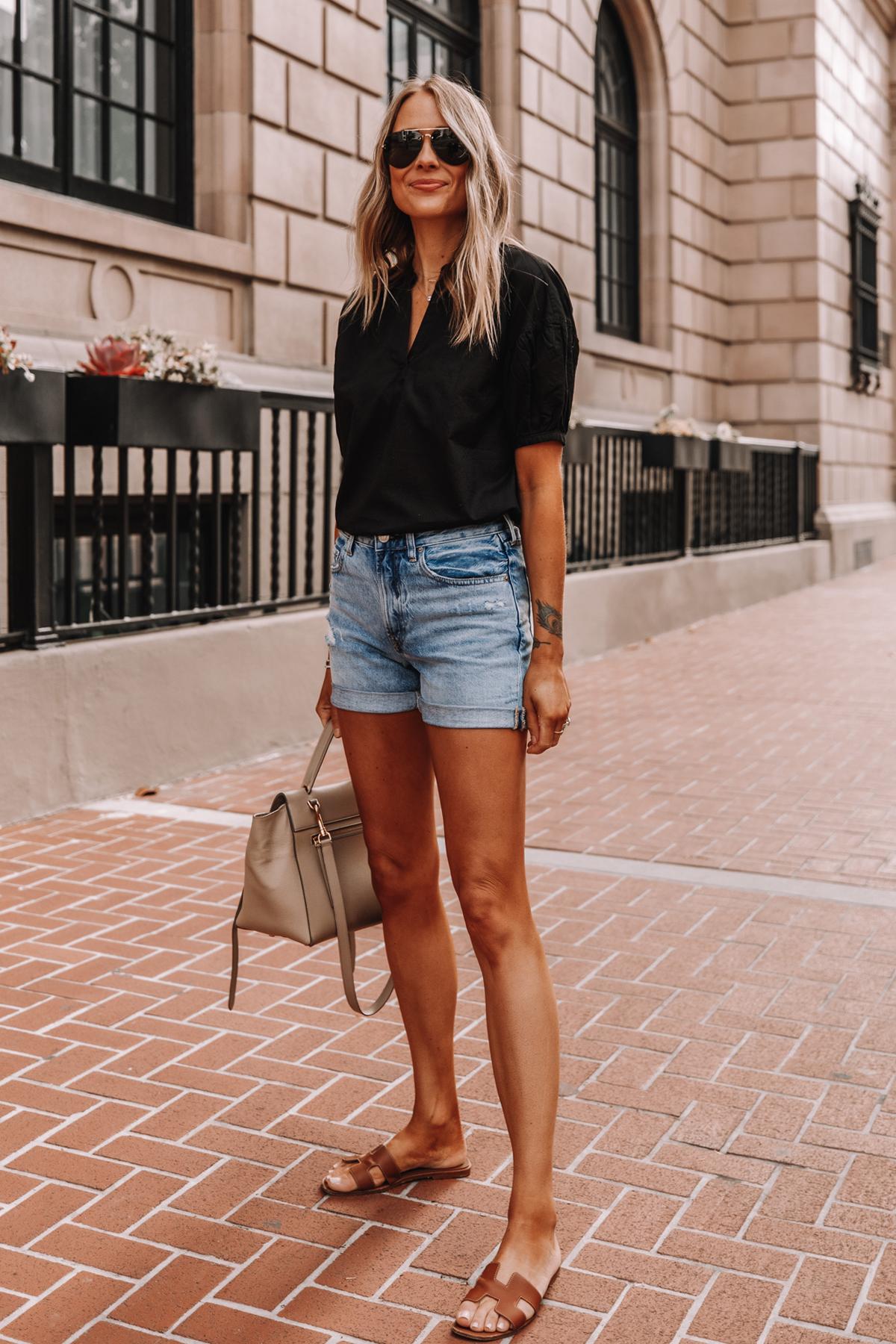 Fashion Jackson Wearing Black Everlane Split Neck Puff Sleeve Air Shirt Everlane Denim Shorts Tan Sandals Summer Outfit 2