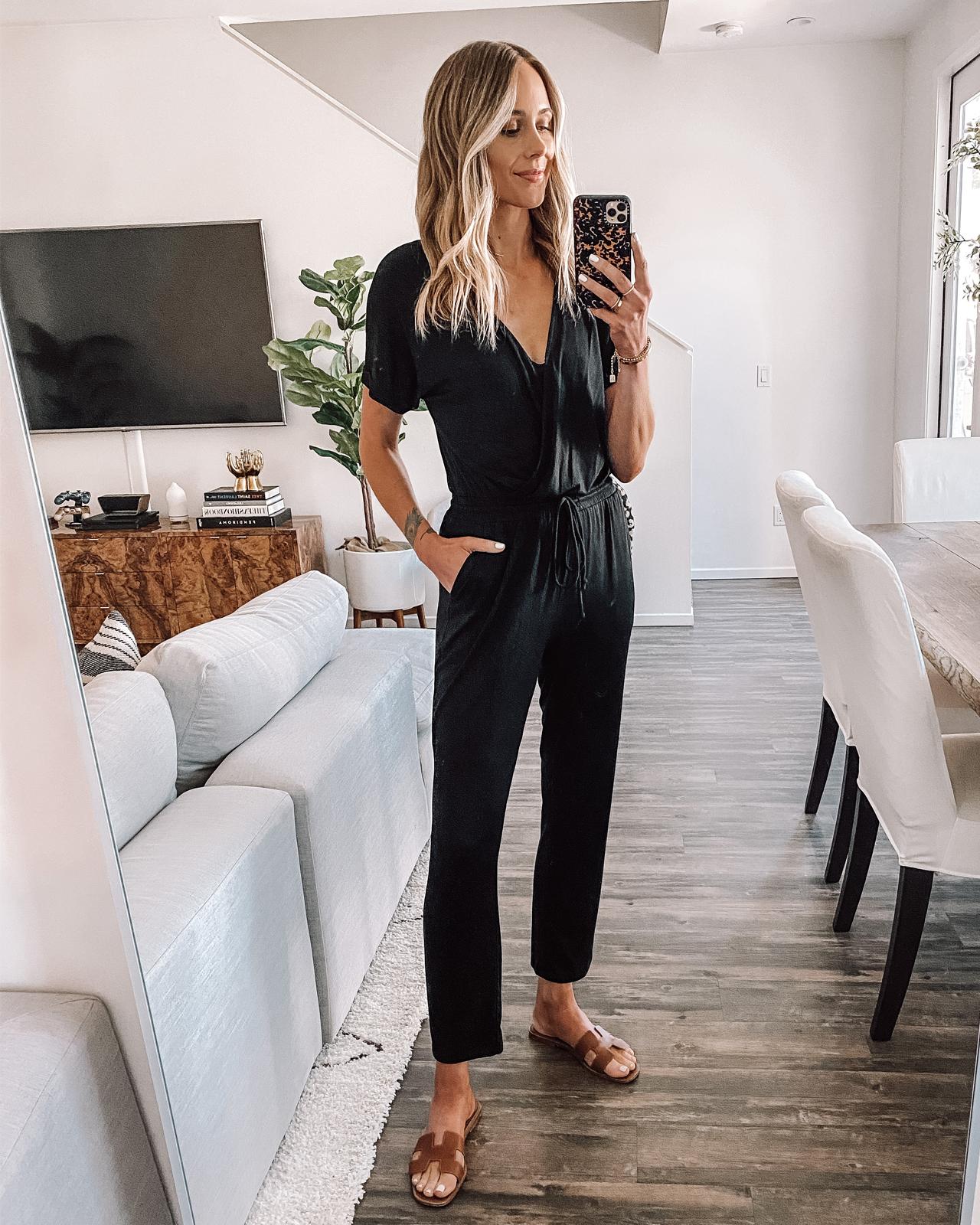 Fashion Jackson Wearing Black Jumpsuit Hermes Oran Brown Sandals