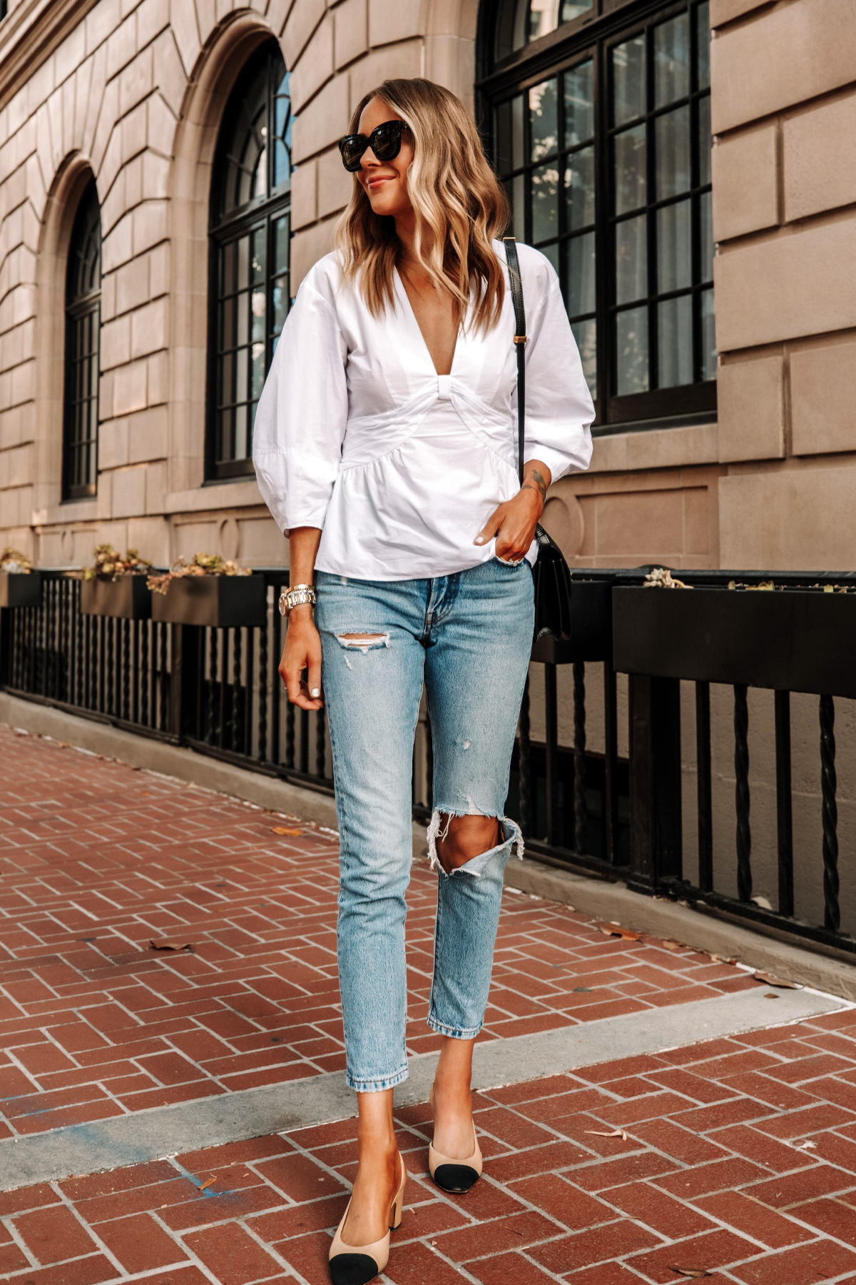 Fashion Jackson Wearing Derek Lam White Blouse Levis 501 Ripped Skinny Jeans Chanel Slingbacks 1