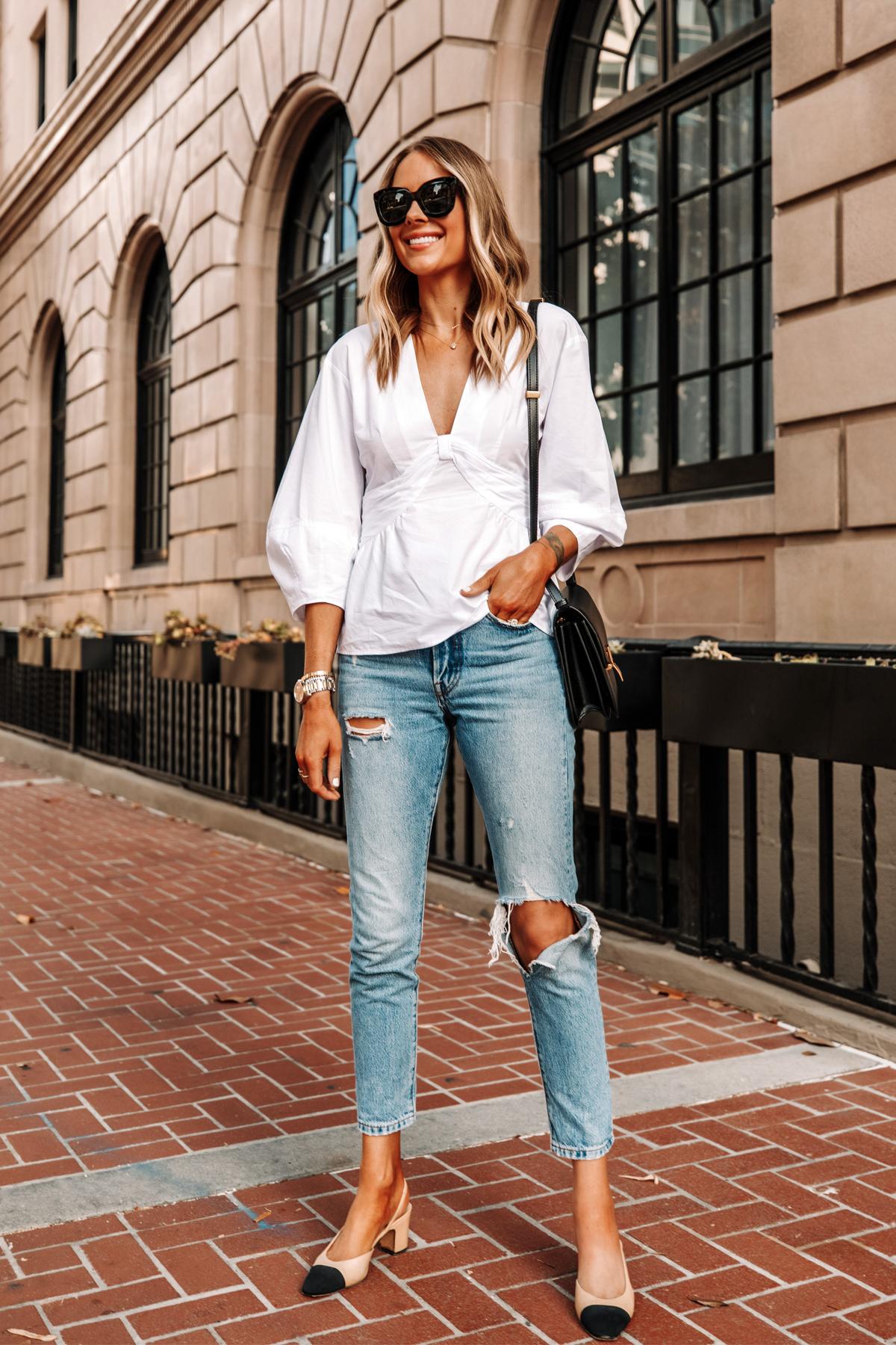 Fashion Jackson Wearing Derek Lam White Blouse Levis 501 Ripped Skinny Jeans Chanel Slingbacks 2