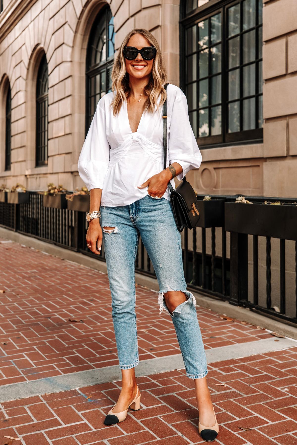 Fashion Jackson Wearing Derek Lam White Blouse Levis 501 Ripped Skinny Jeans Chanel Slingbacks