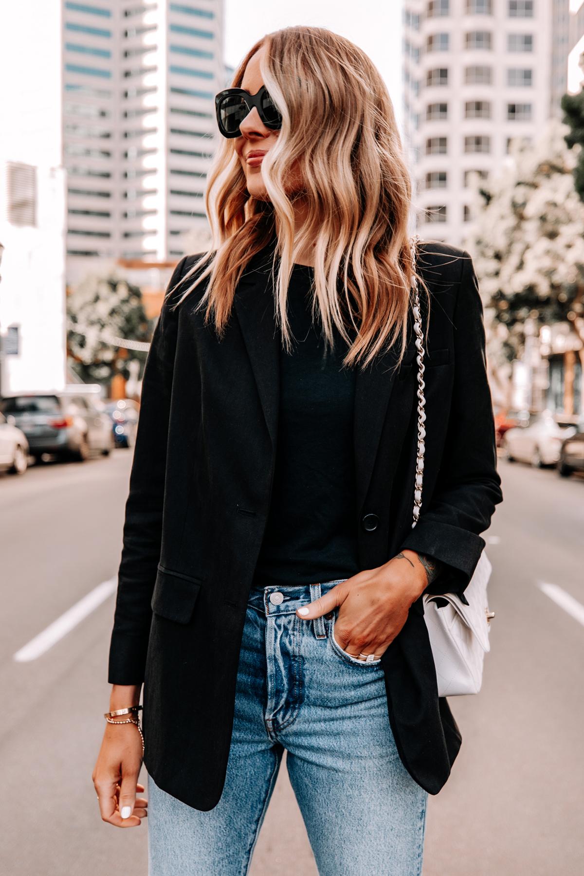 Fashion Jackson Wearing Everlane Black Blazer Black Tshirt Levis Jeans Chanel White Medium Flap Bag 1