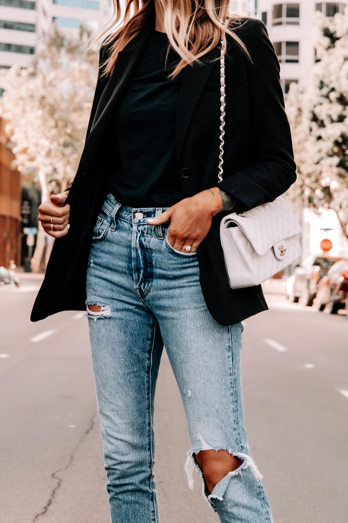 Fashion Jackson Wearing Everlane Black Blazer Black Tshirt Levis Ripped Jeans Chanel White Medium Flap Bag 1