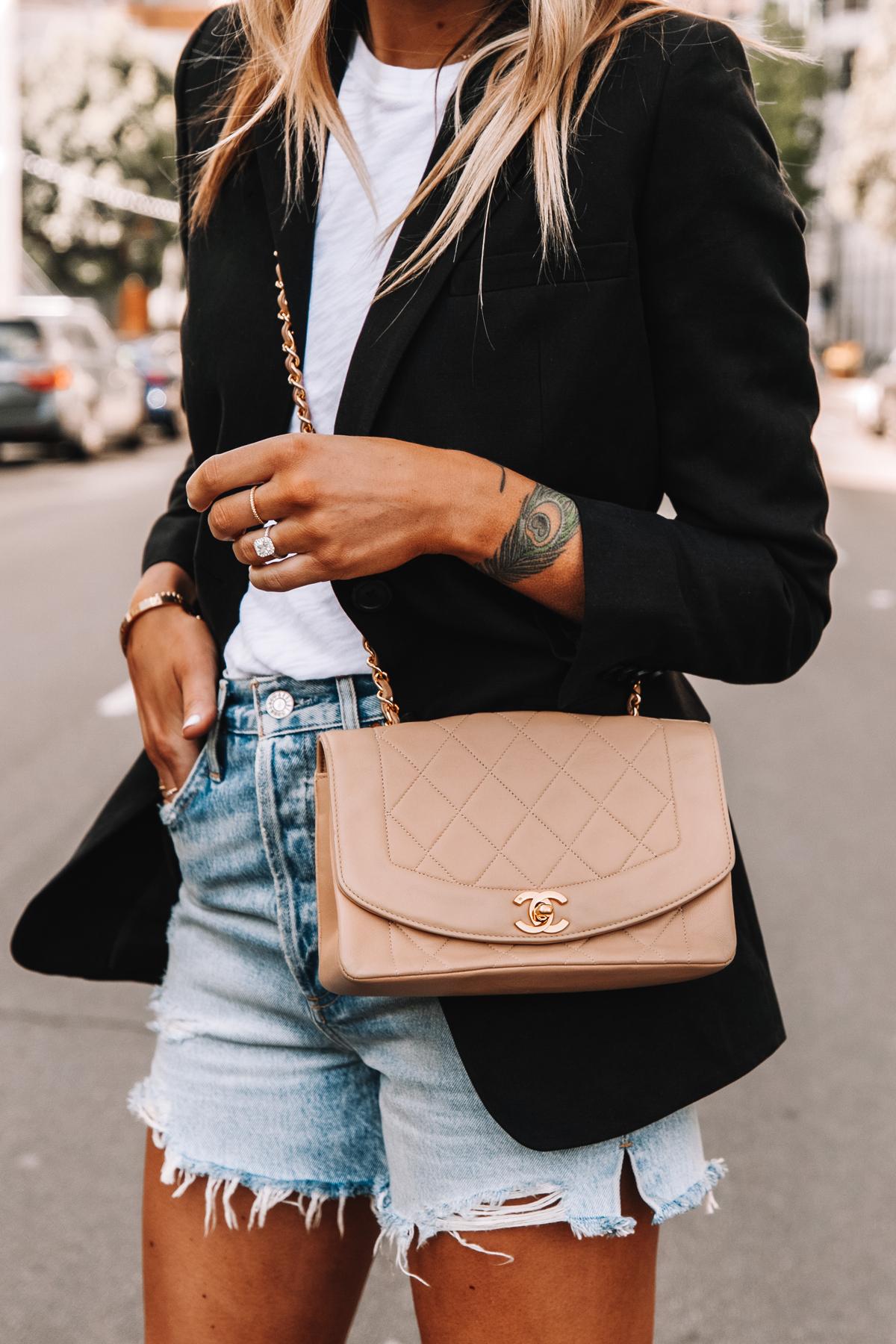 Fashion Jackson Wearing Everlane Black Blazer White Tshirt AGOLDE High Rise Denim Shorts Beige Chanel Handbag