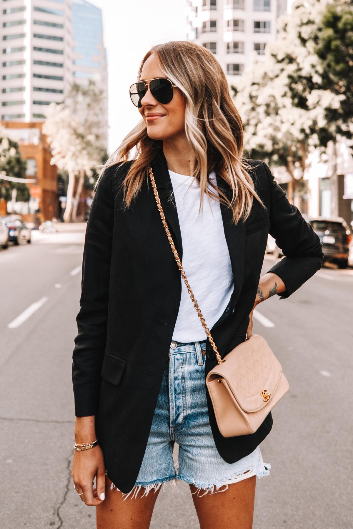 Fashion Jackson Wearing Everlane Black Blazer White Tshirt High Rise Denim Shorts Beige Chanel Handbag