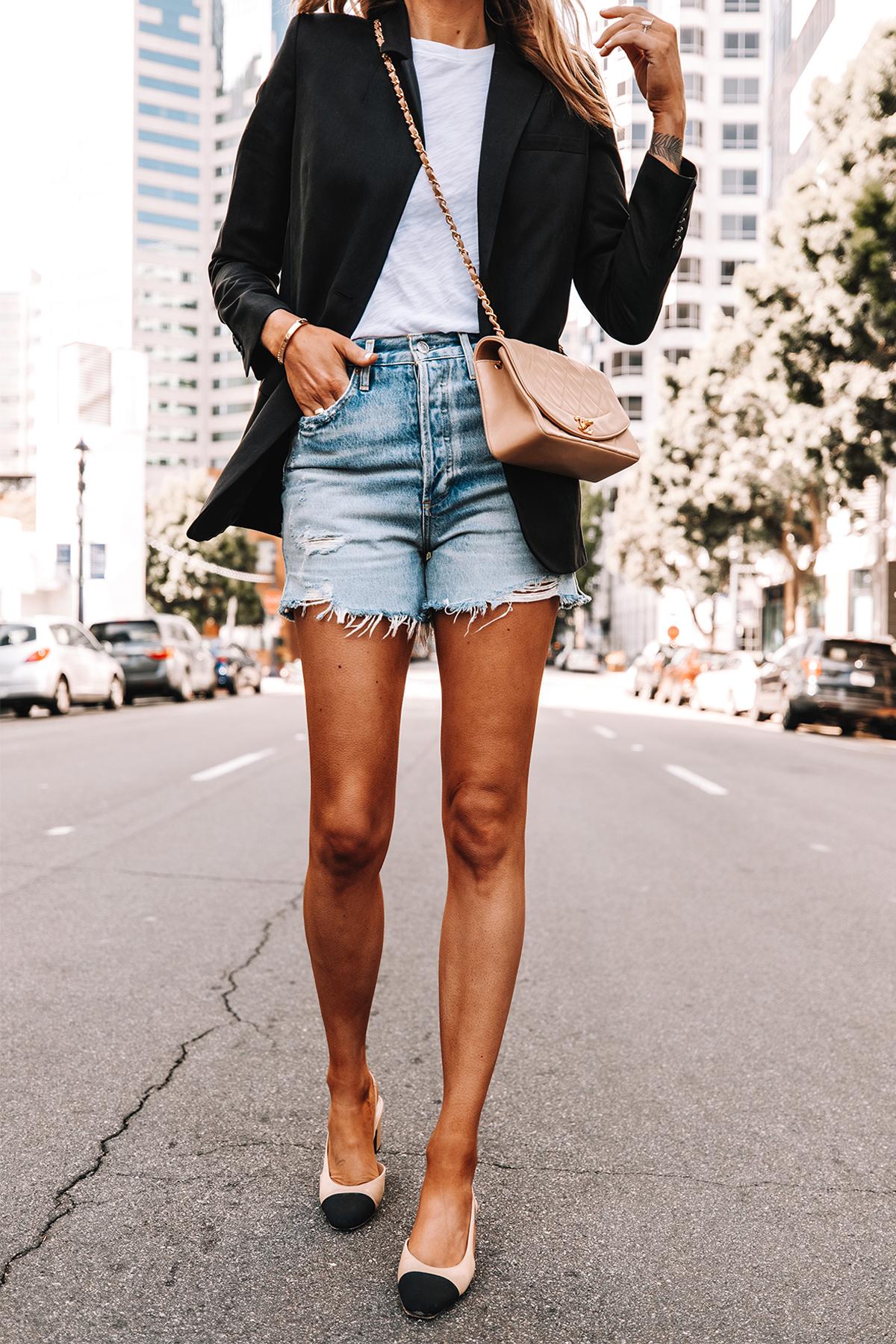 Fashion Jackson Wearing Everlane Black Blazer White Tshirt High Rise Denim Shorts Chanel Slingbacks Beige Chanel Handbag