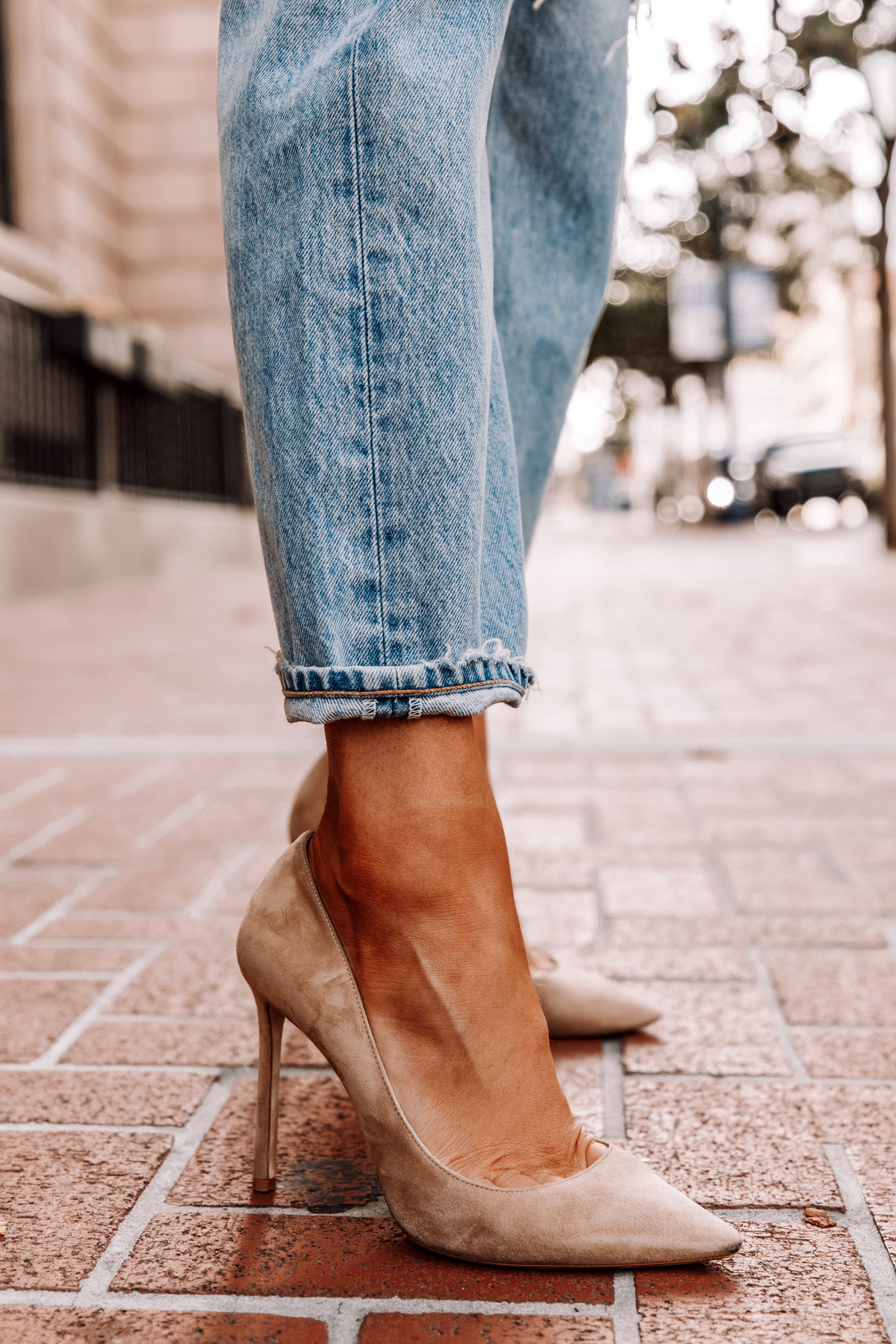Fashion Jackson Wearing Jeans and Jimmy Choo Romy Nude Pumps