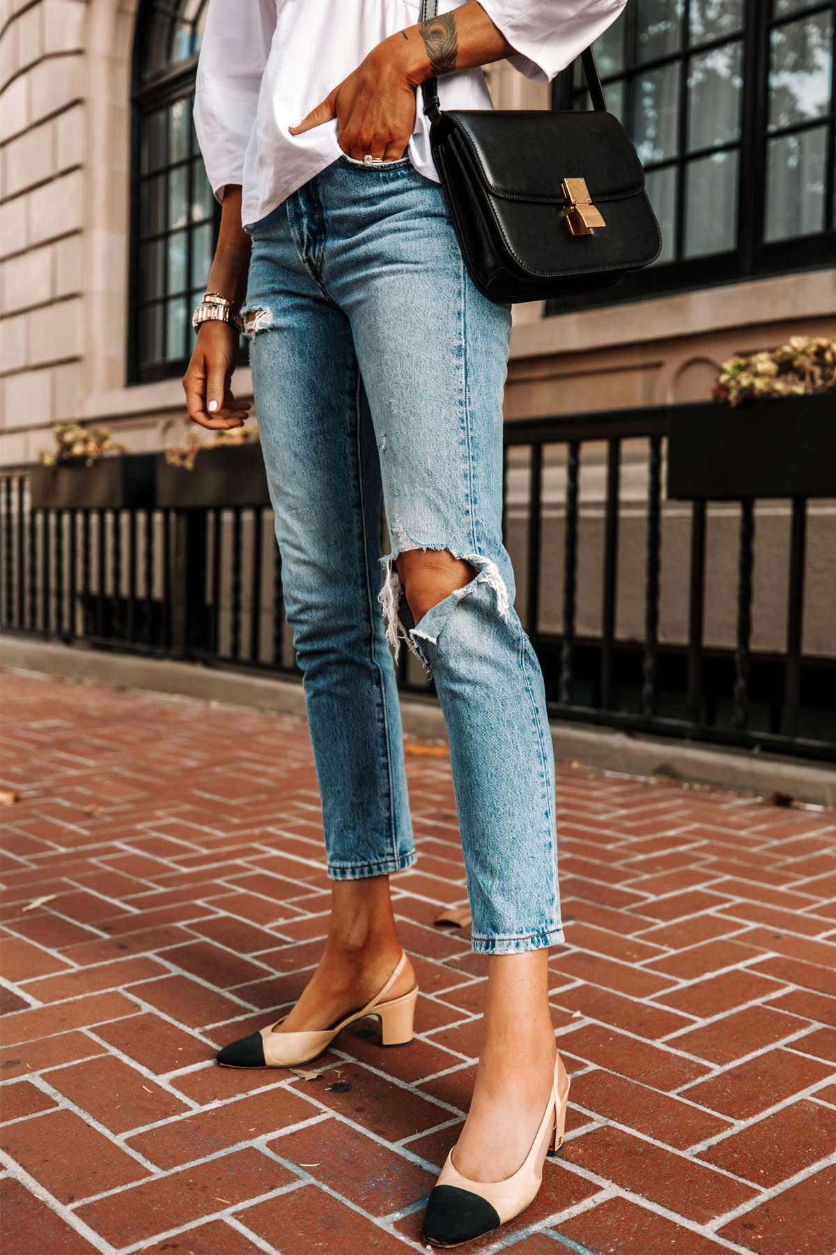 Fashion Jackson Wearing Levis 501 Skinny Ripped Jeans Chanel Slingbacks