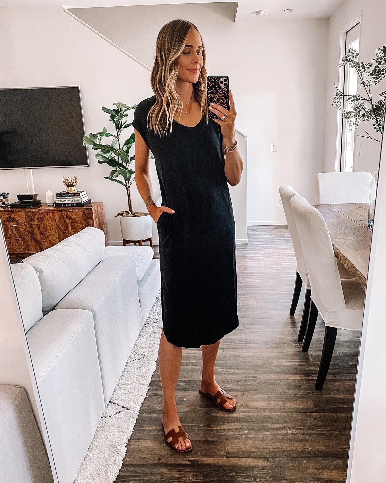 Fashion Jackson Wearing Midi Black T-Shirt Dress