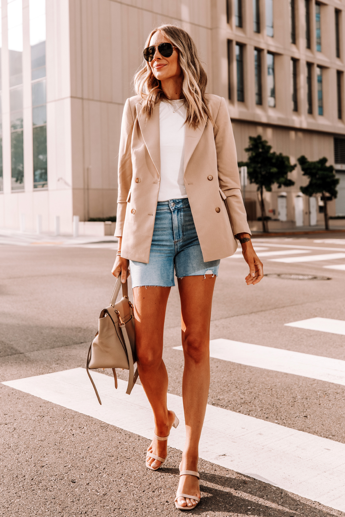 Fashion Jackson Wearing Tan Blazer White Tshirt Raw Hem Denim Shorts Tan Sandals Celine Belt Bag 1