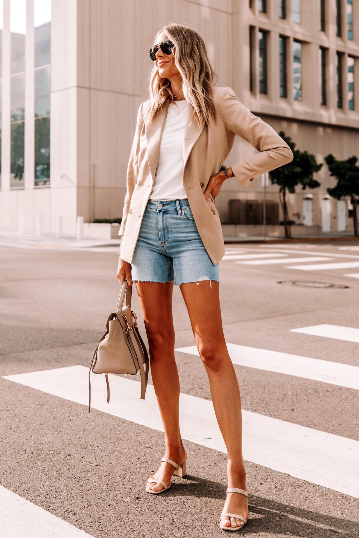 Fashion Jackson Wearing Tan Blazer White Tshirt Raw Hem Denim Shorts Tan Sandals Celine Belt Bag