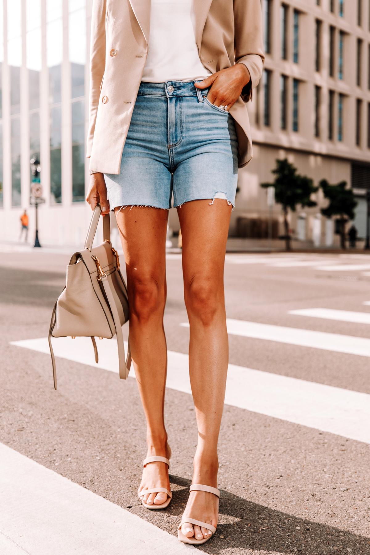 Fashion Jackson Wearing Tan Blazer White Tshirt Raw Hem Denim Shorts Tan Sandals